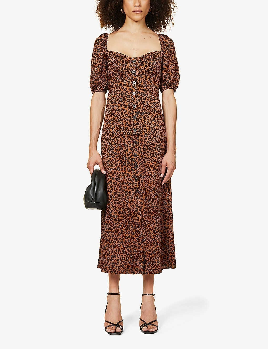 GOOD AMERICAN Animal-print Puff-sleeve Woven Maxi Dress