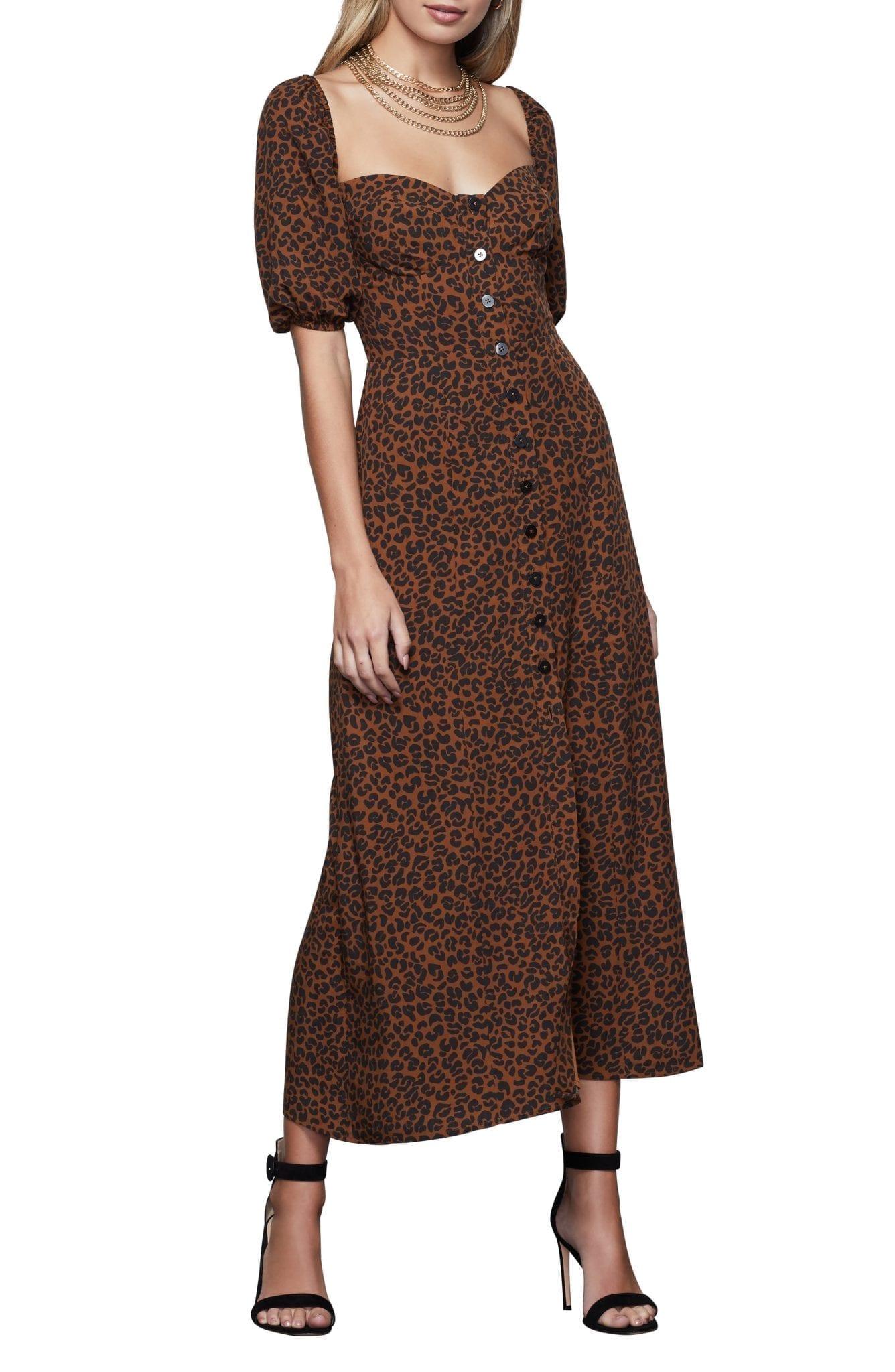 GOOD AMERICAN Corset Leopard Print Puff Sleeve Maxi Dress