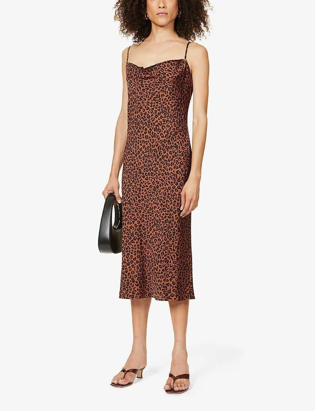 GOOD AMERICAN Leopard-print Woven Midi Slip Dress