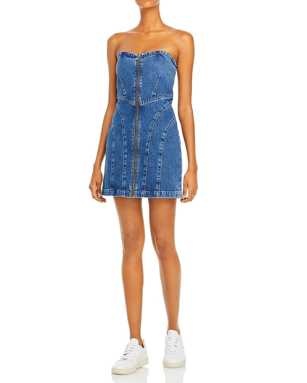 GRLFRND Isabella Strapless Denim Mini Dress