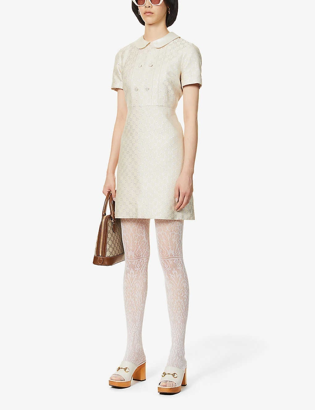 GUCCI Branded Pattern Wool-blend Mini Dress