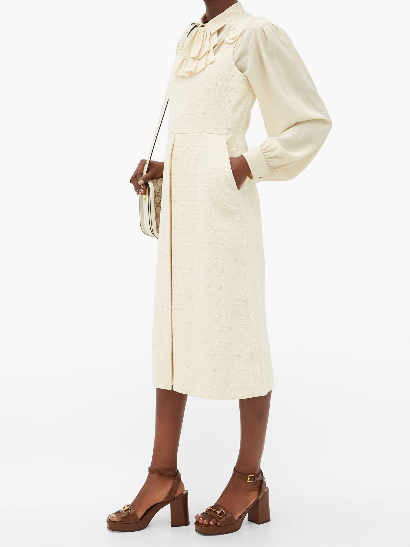GUCCI Checked Cotton-blend Jacquard Dress