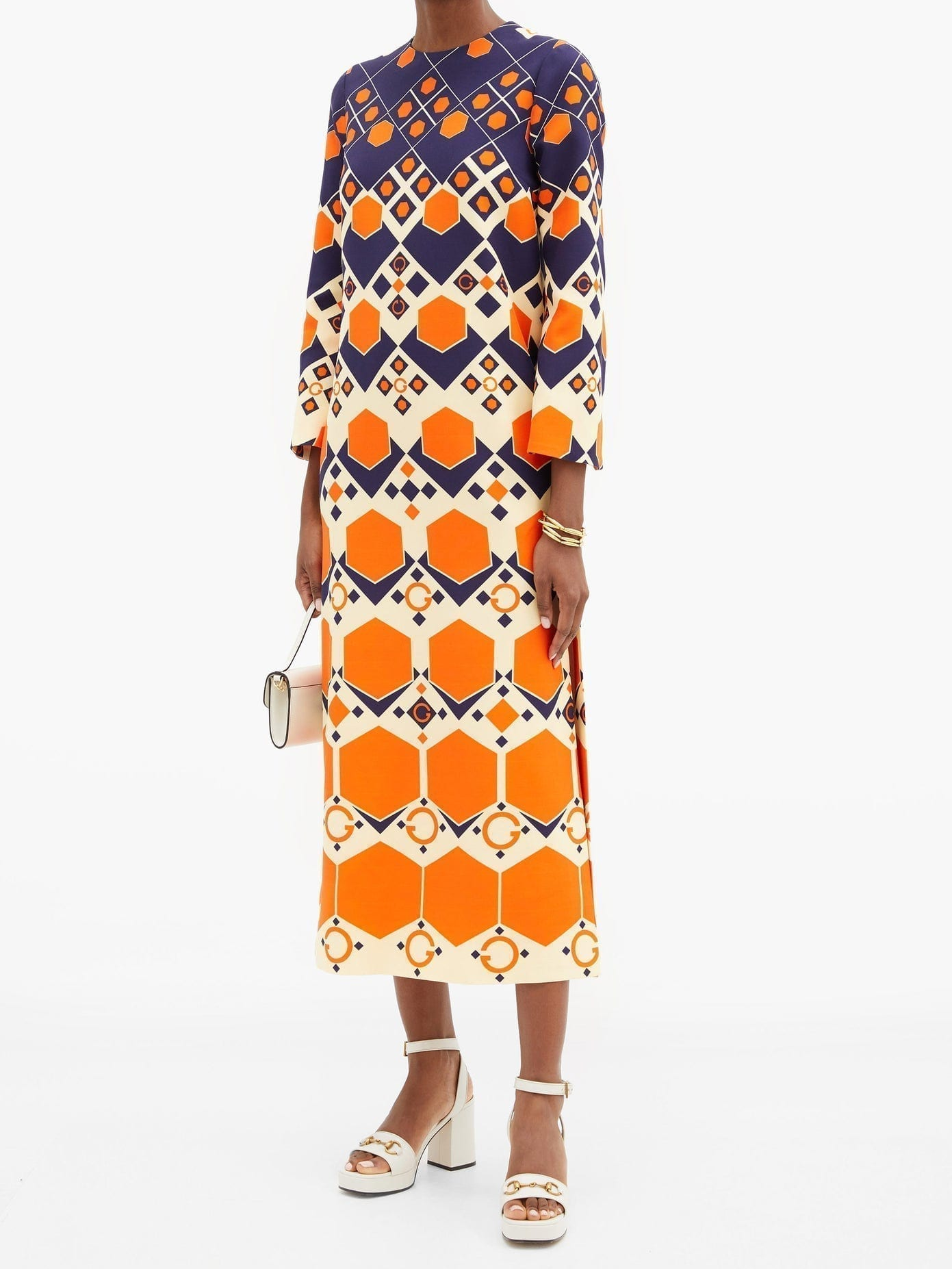 GUCCI Hexagon-print Silk-blend Crepe Dress