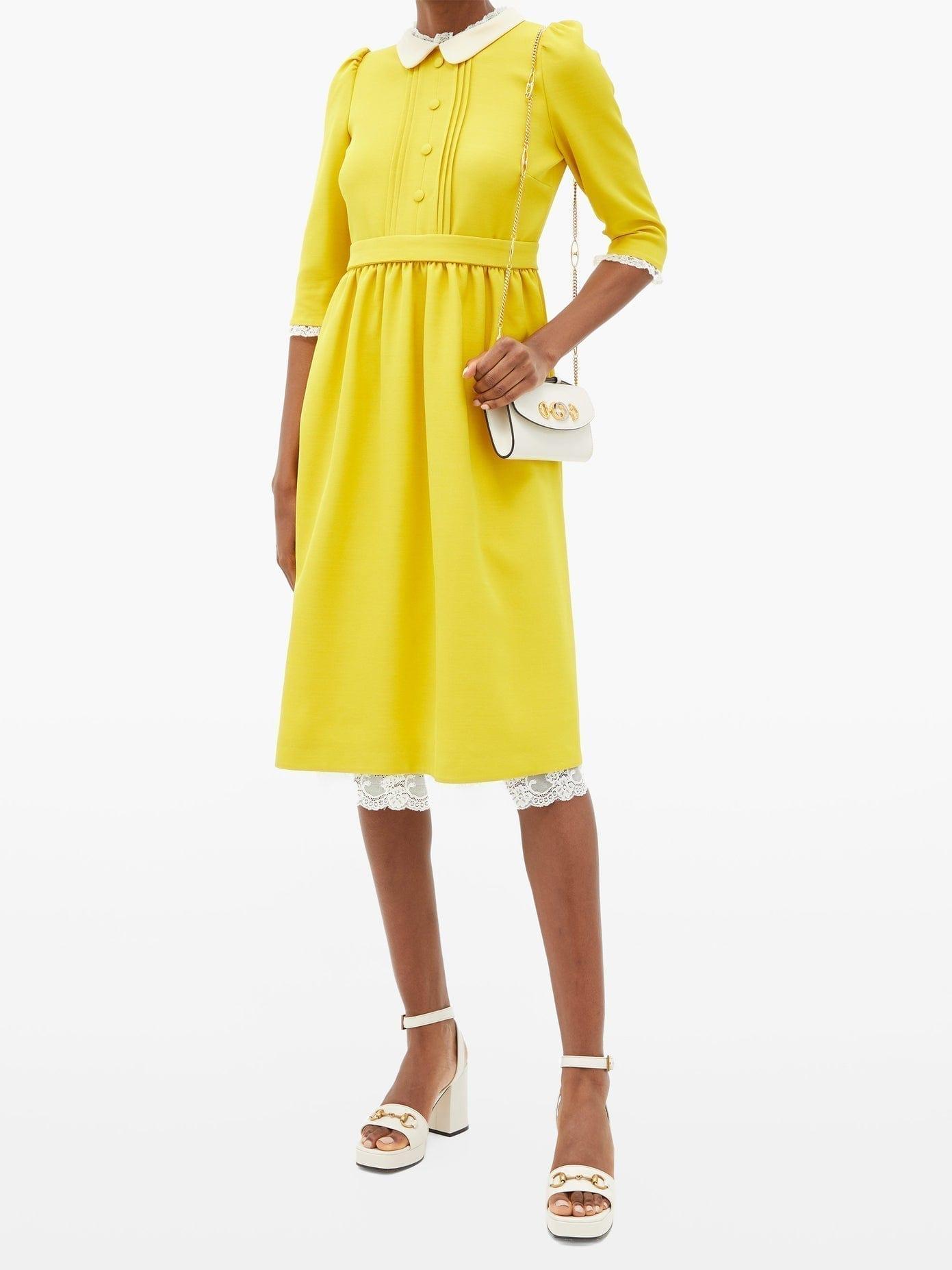 GUCCI Lace-trimmed Silk-blend Crepe Dress