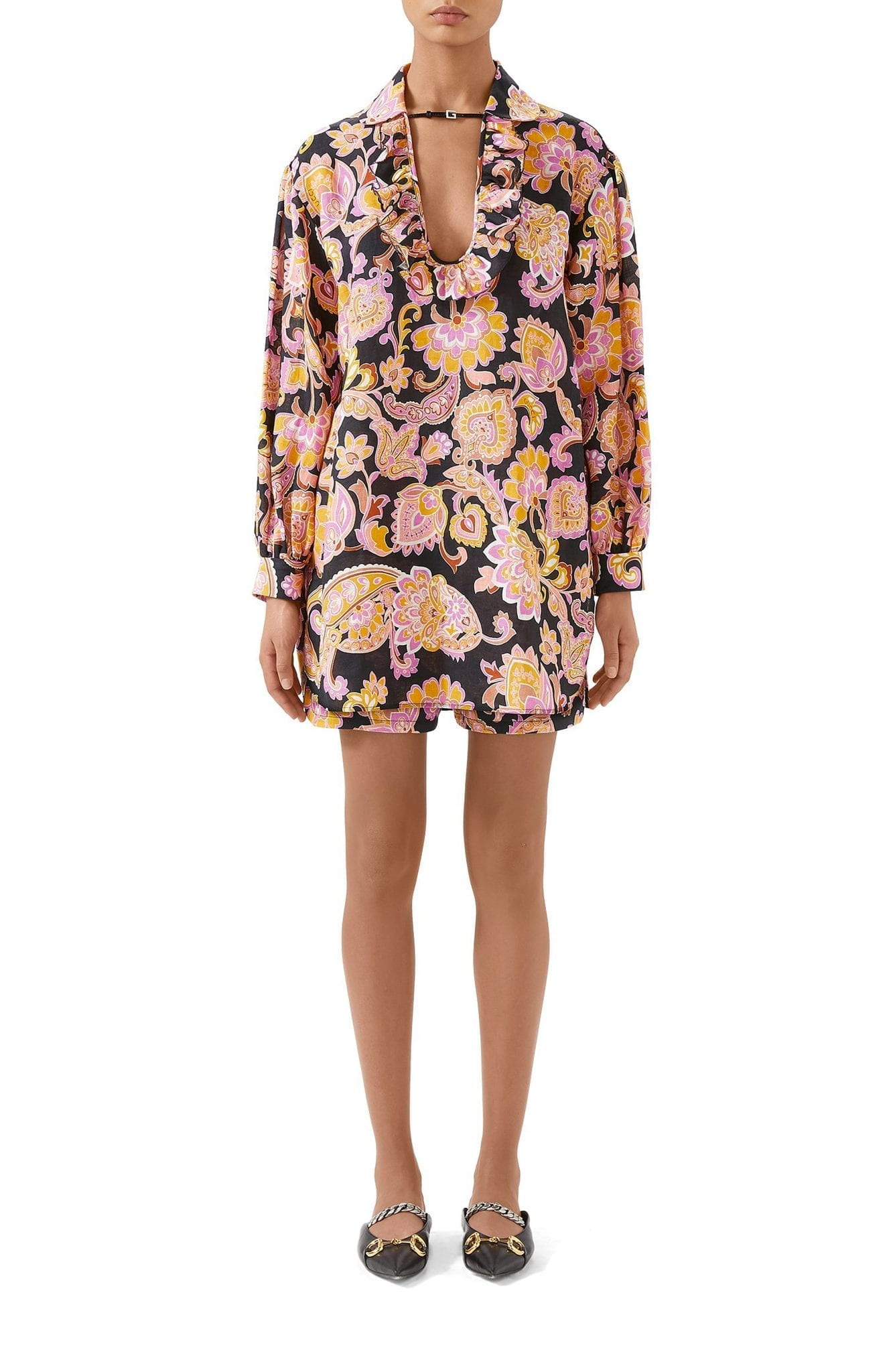 GUCCI Paisley Ruffle Linen Tunic Dress