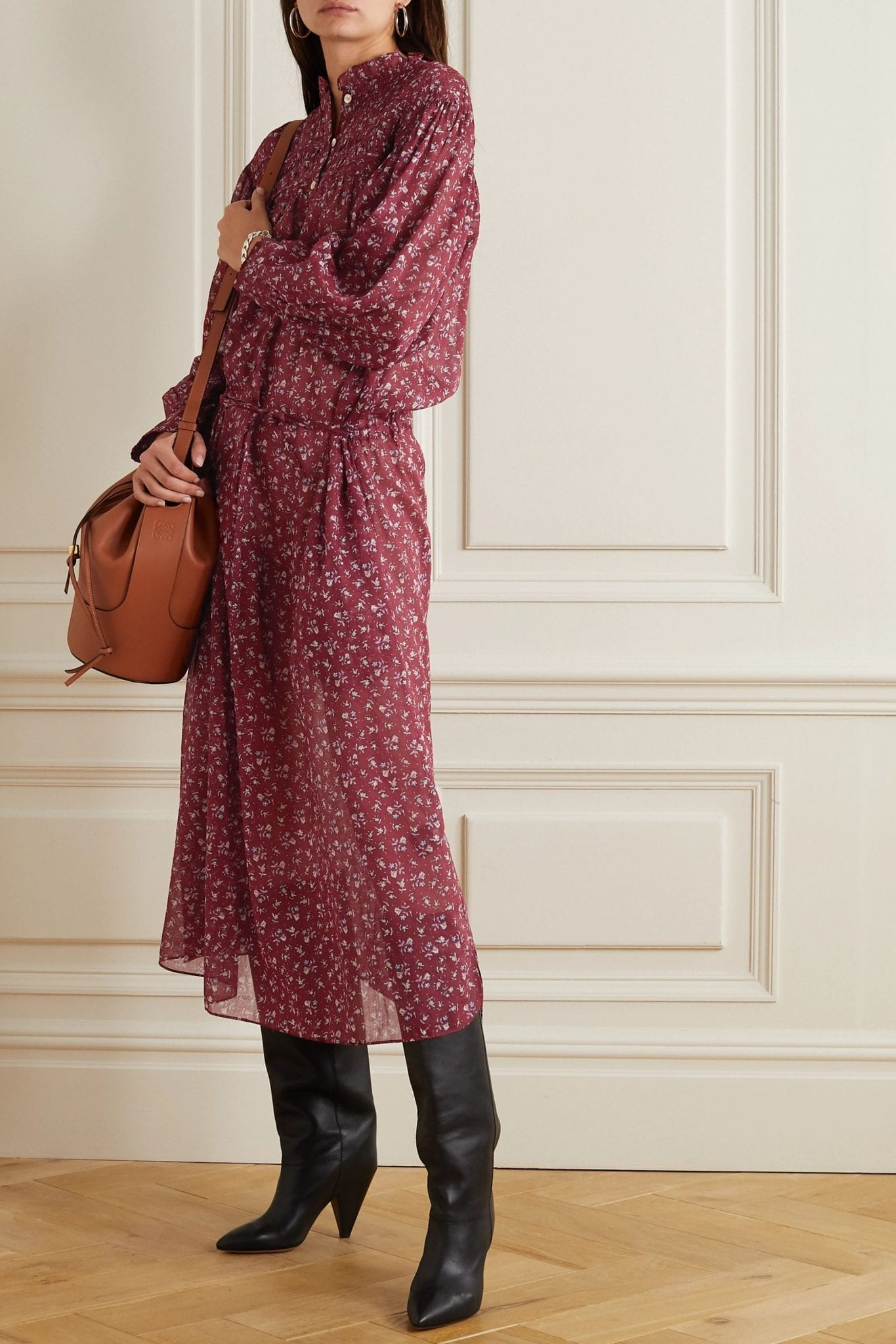 ISABEL MARANT ÉTOILE Perkins Shirred Floral-print Cotton-voile Midi Dress