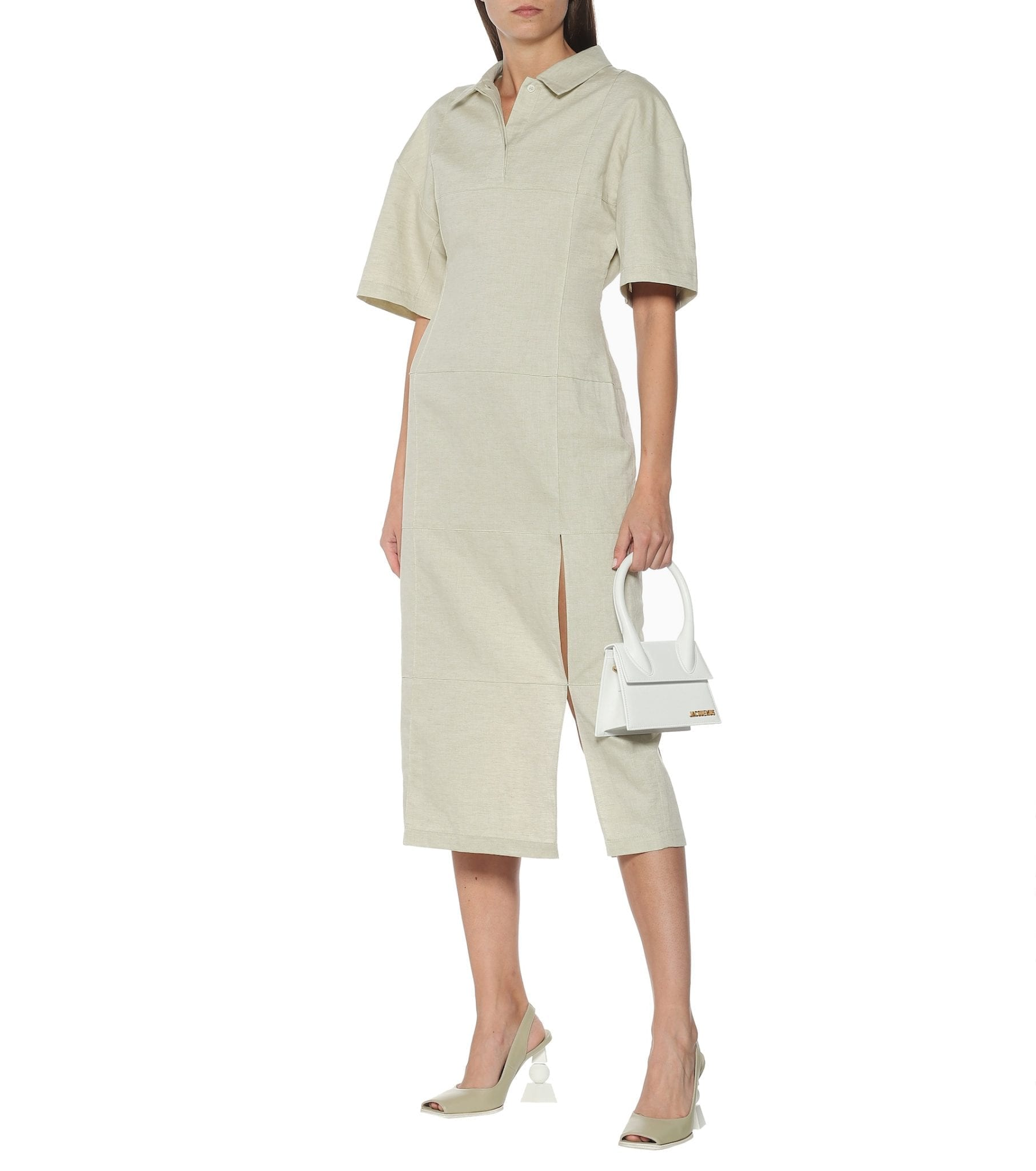 JACQUEMUS Carro Cotton And Linen Midi Dress