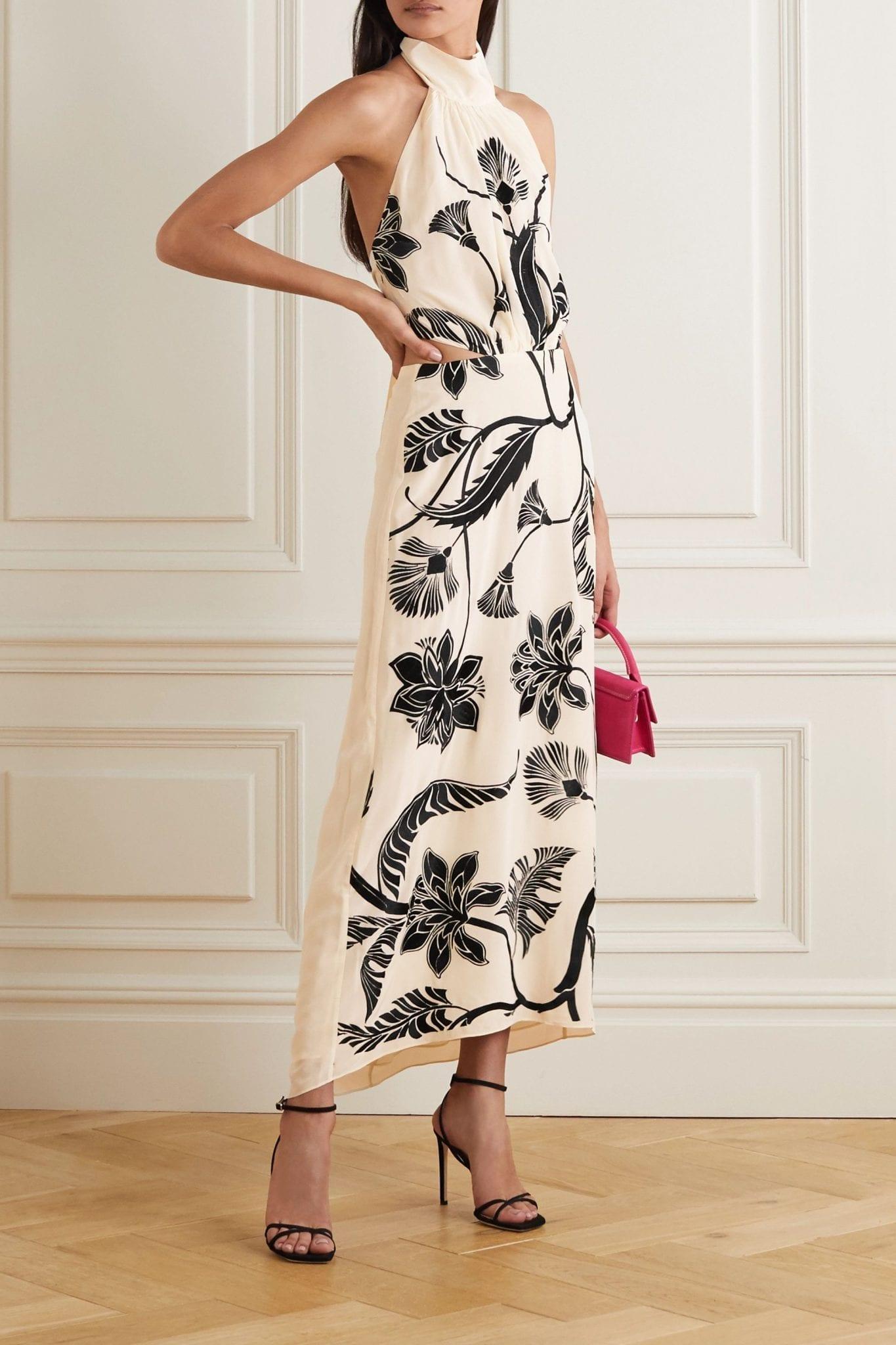 JOHANNA ORTIZ Ancient Dynasty Embroidered Silk Crepe De Chine Halterneck Maxi Dress