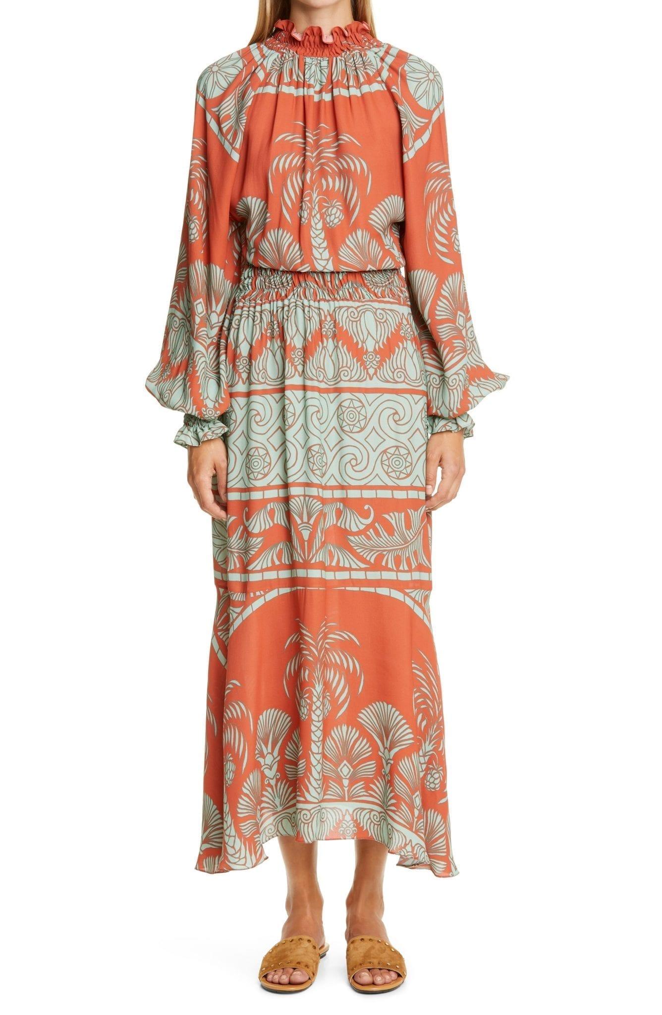 JOHANNA ORTIZ Ruffle Long Bishop Sleeve Maxi Dress