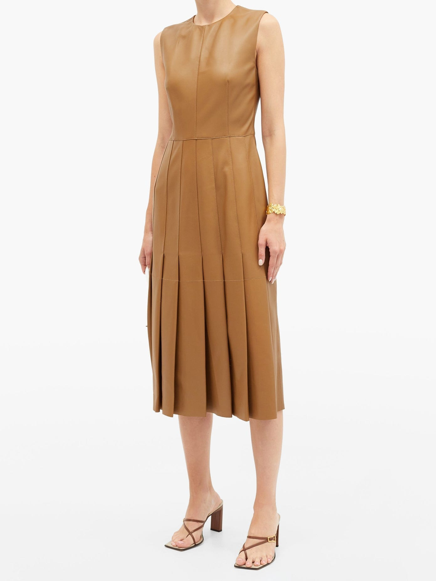 JOSEPH Demry Leather Pleated Dress