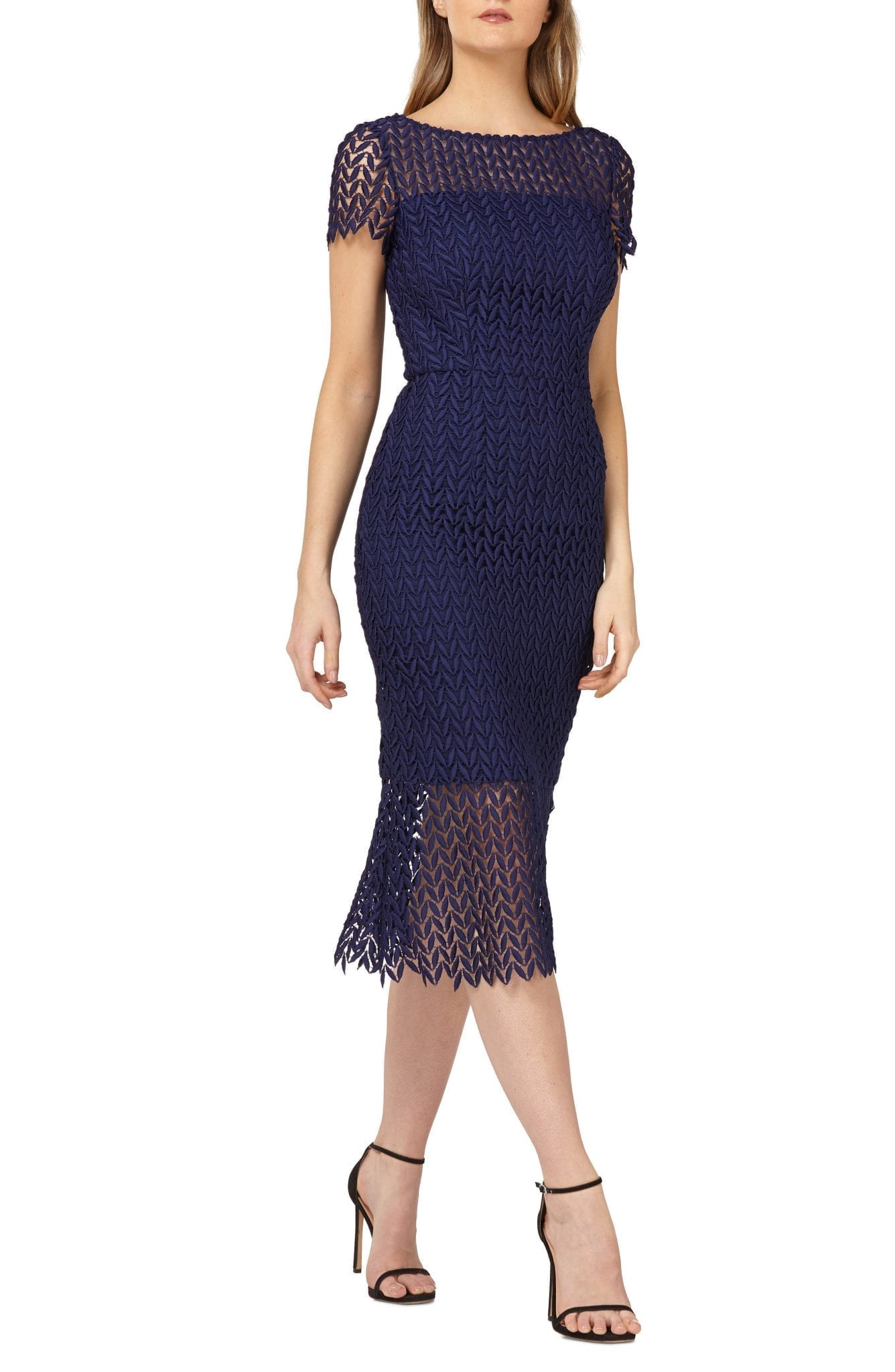 KAY UNGER Floral Lace Midi Dress