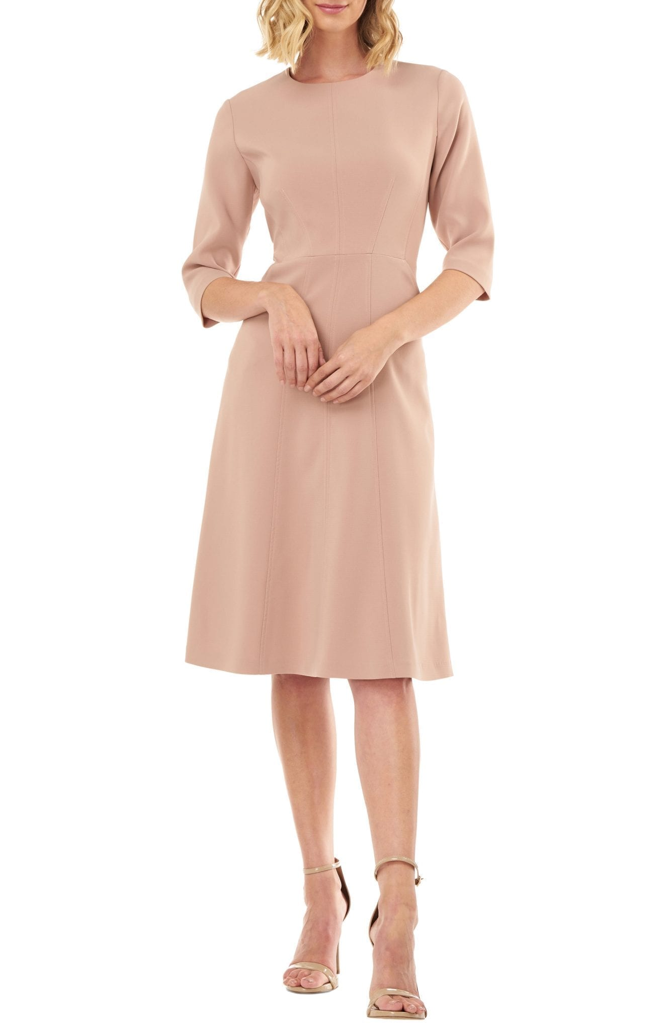 KAY UNGER Stretch Crepe A-Line Dress