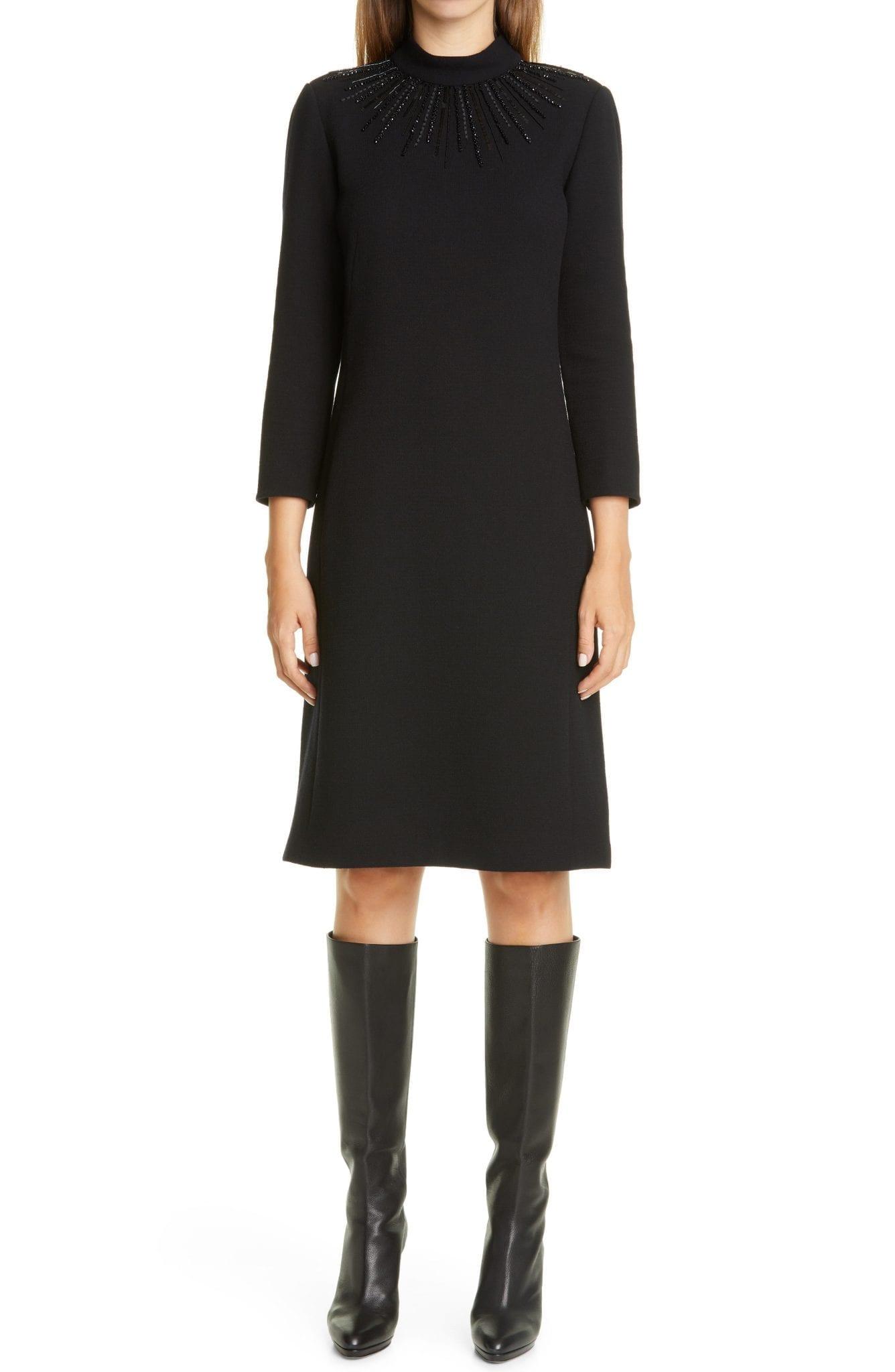 LAFAYETTE 148 NEW YORK Adira Embellished Nouveau Wool Crepe A-Line Dress