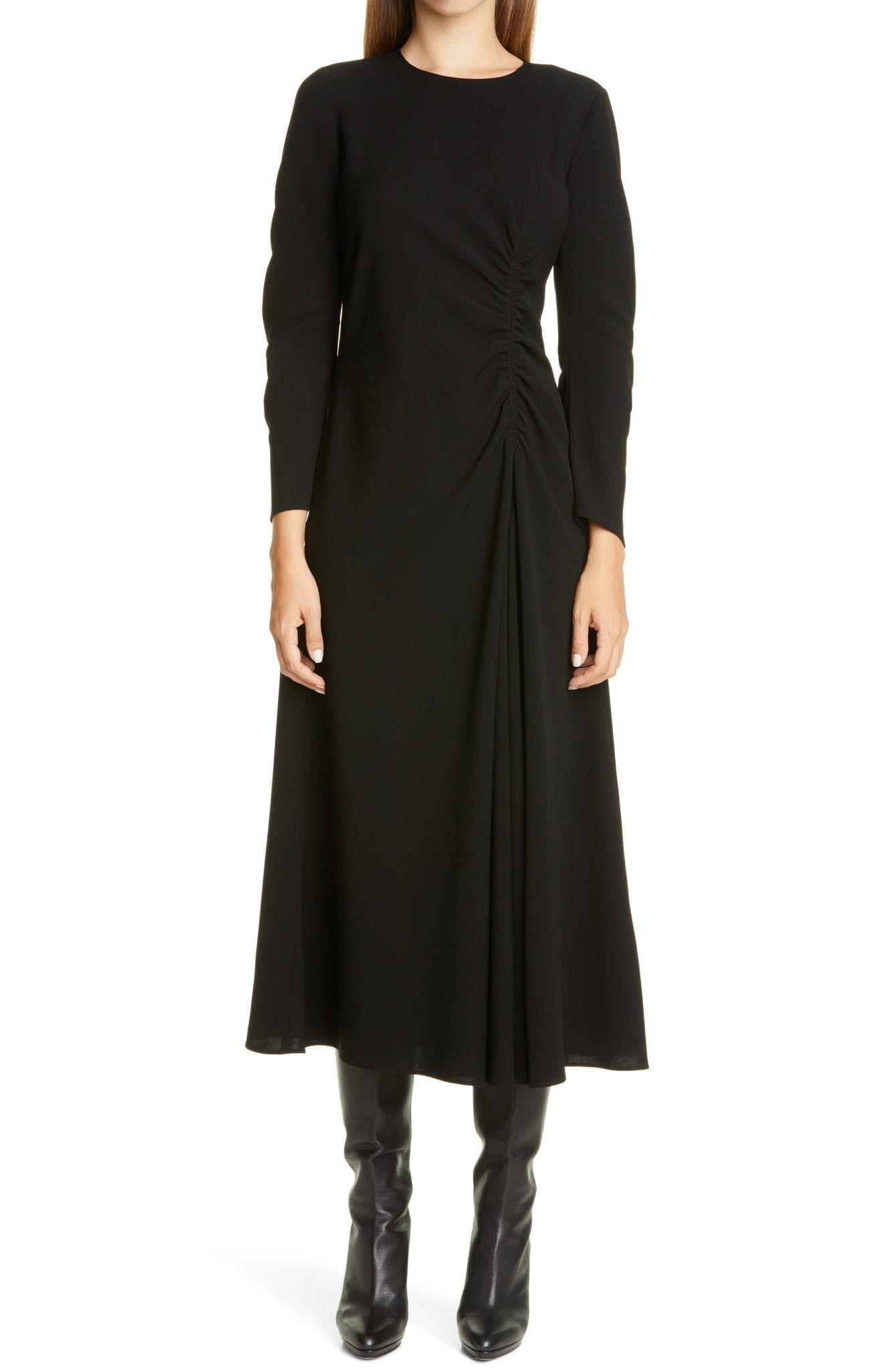 LAFAYETTE 148 NEW YORK Collina Ruched Long Sleeve Midi Dress
