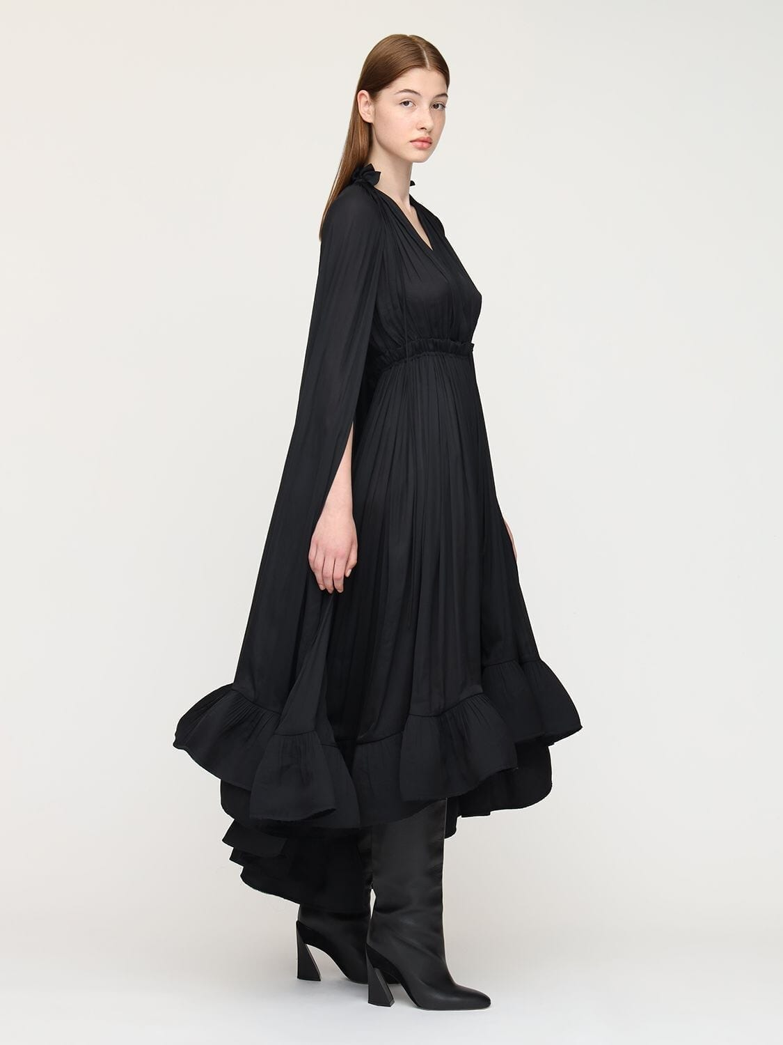 LANVIN Draped Georgette Midi Dress