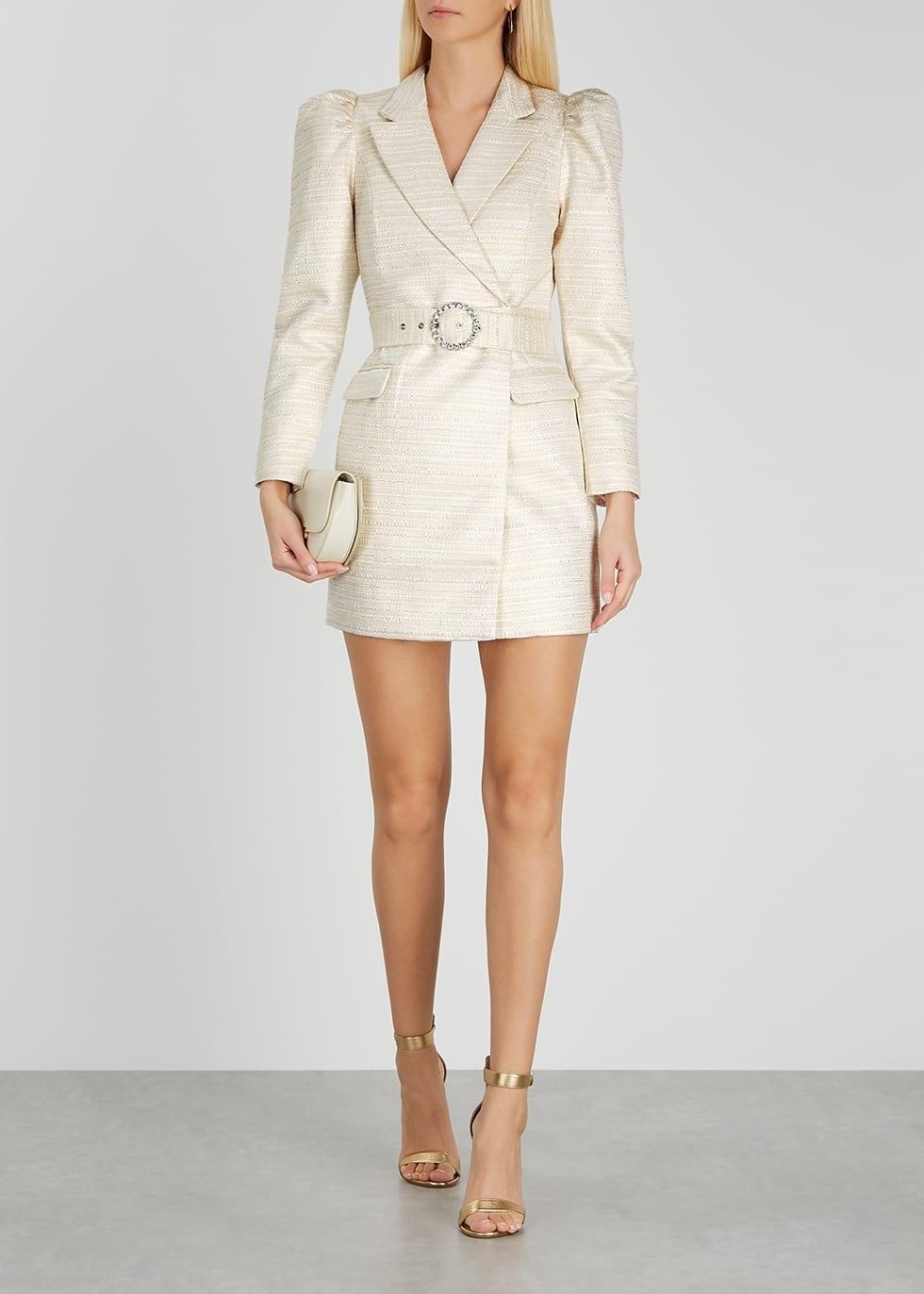 LAVISH ALICE Cream Bouclé Tweed Blazer Dress