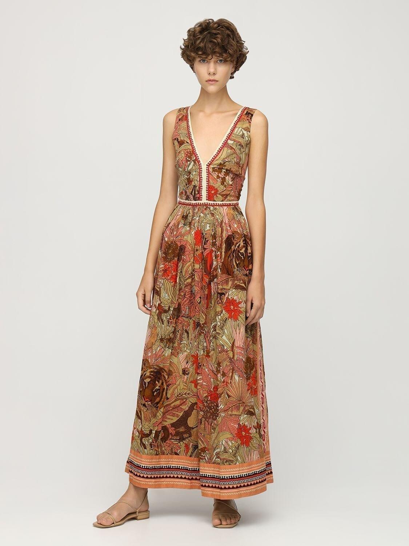 LE SIRENUSE POSITANO Sophia Tiger Print Midi Dress