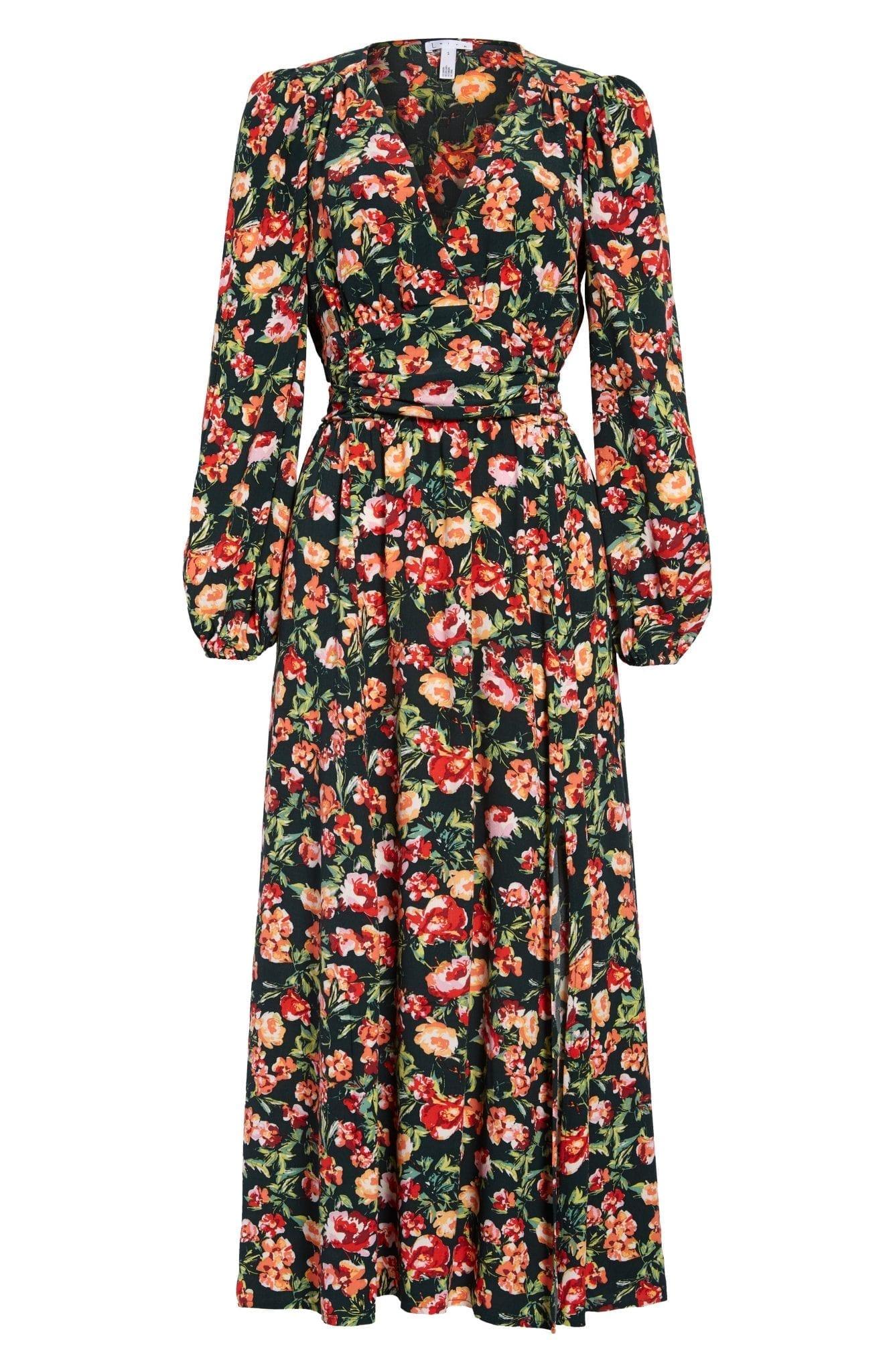 LEITH Long Sleeve Floral Print Dress