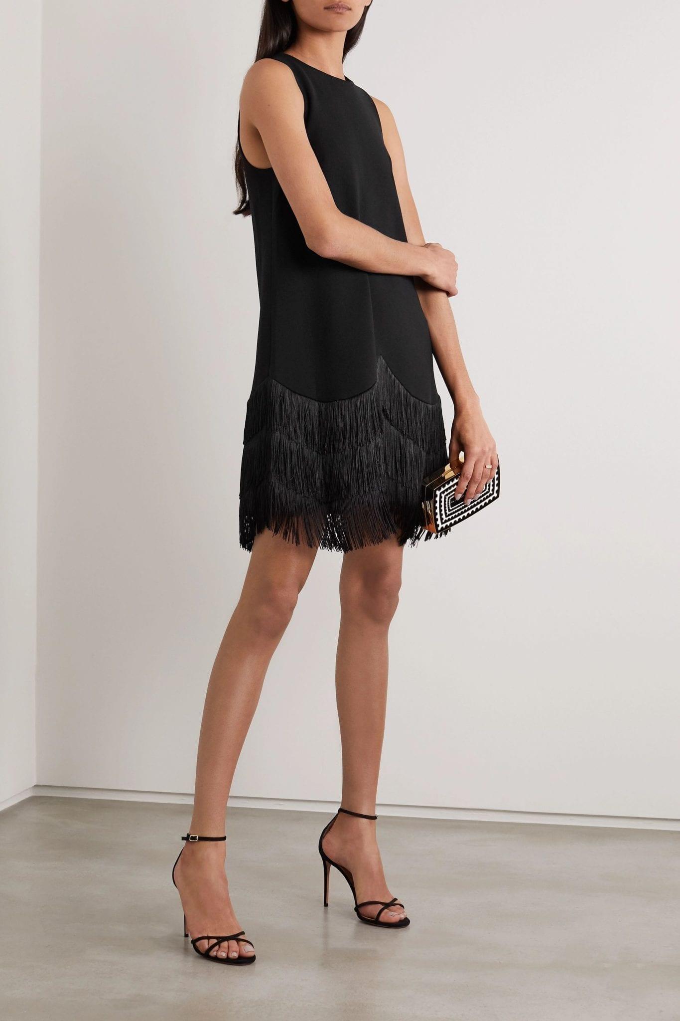 LELA ROSE Fringed Wool-blend Crepe Dress