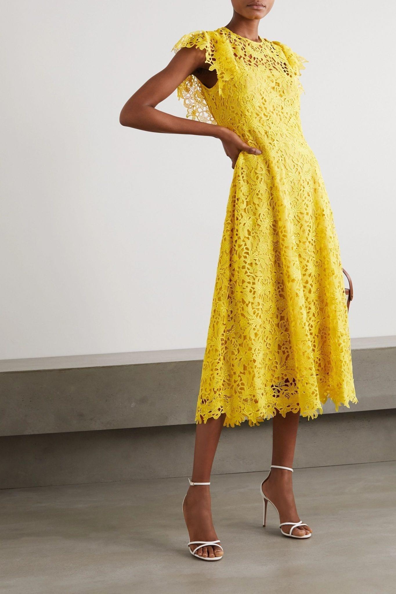 LELA ROSE Wildflower Guipure Lace Midi Dress