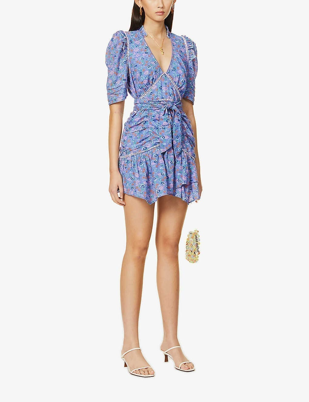 LOVESHACKFANCY Arlo Floral-print Ruched Cotton Mini Dress