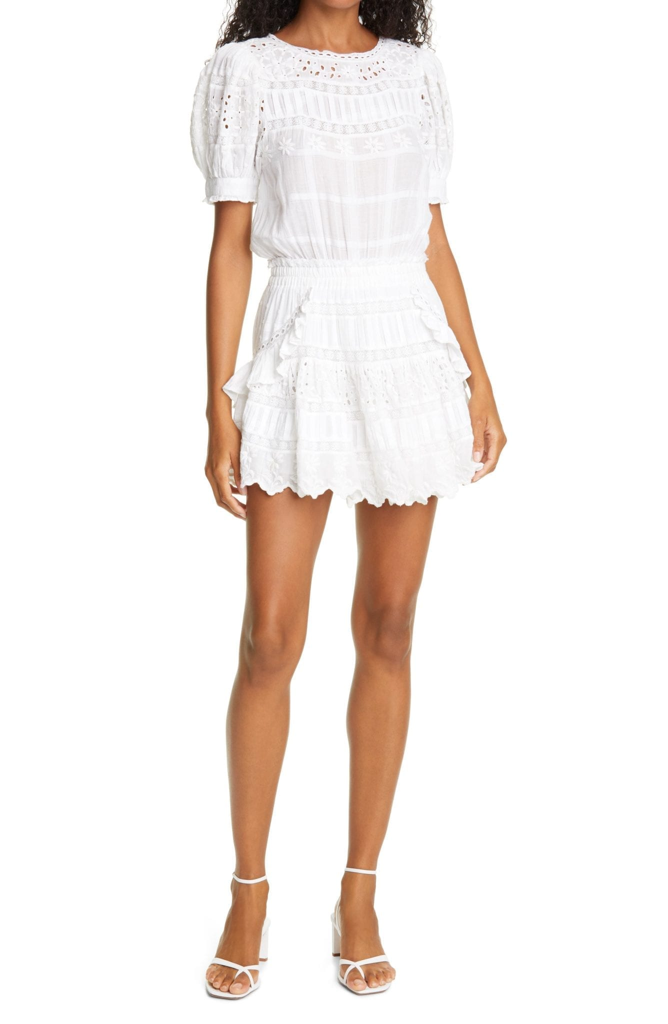 LOVESHACKFANCY Augustine Ruffle & Lace Mini Dress