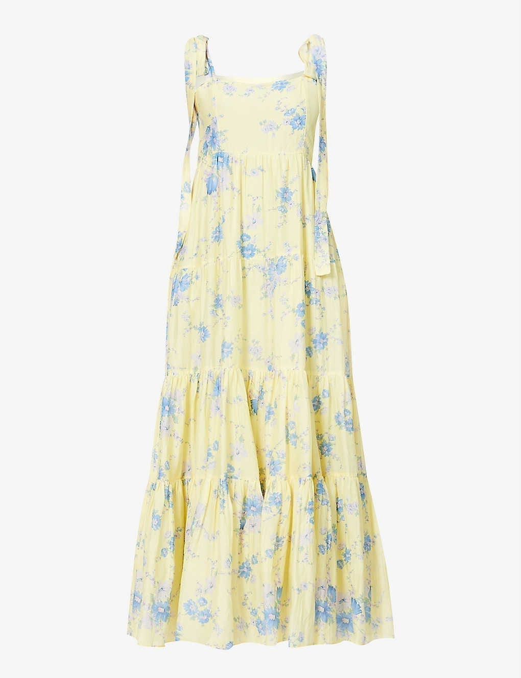 LOVESHACKFANCY Burrows Floral-print Cotton And Silk-blend Maxi Dress