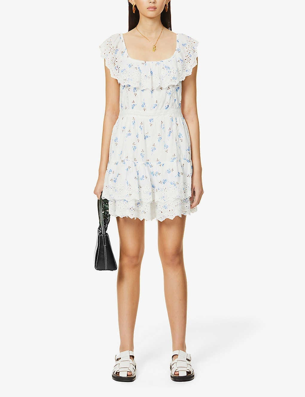 LOVESHACKFANCY Denver Floral-print Cotton Mini Dress