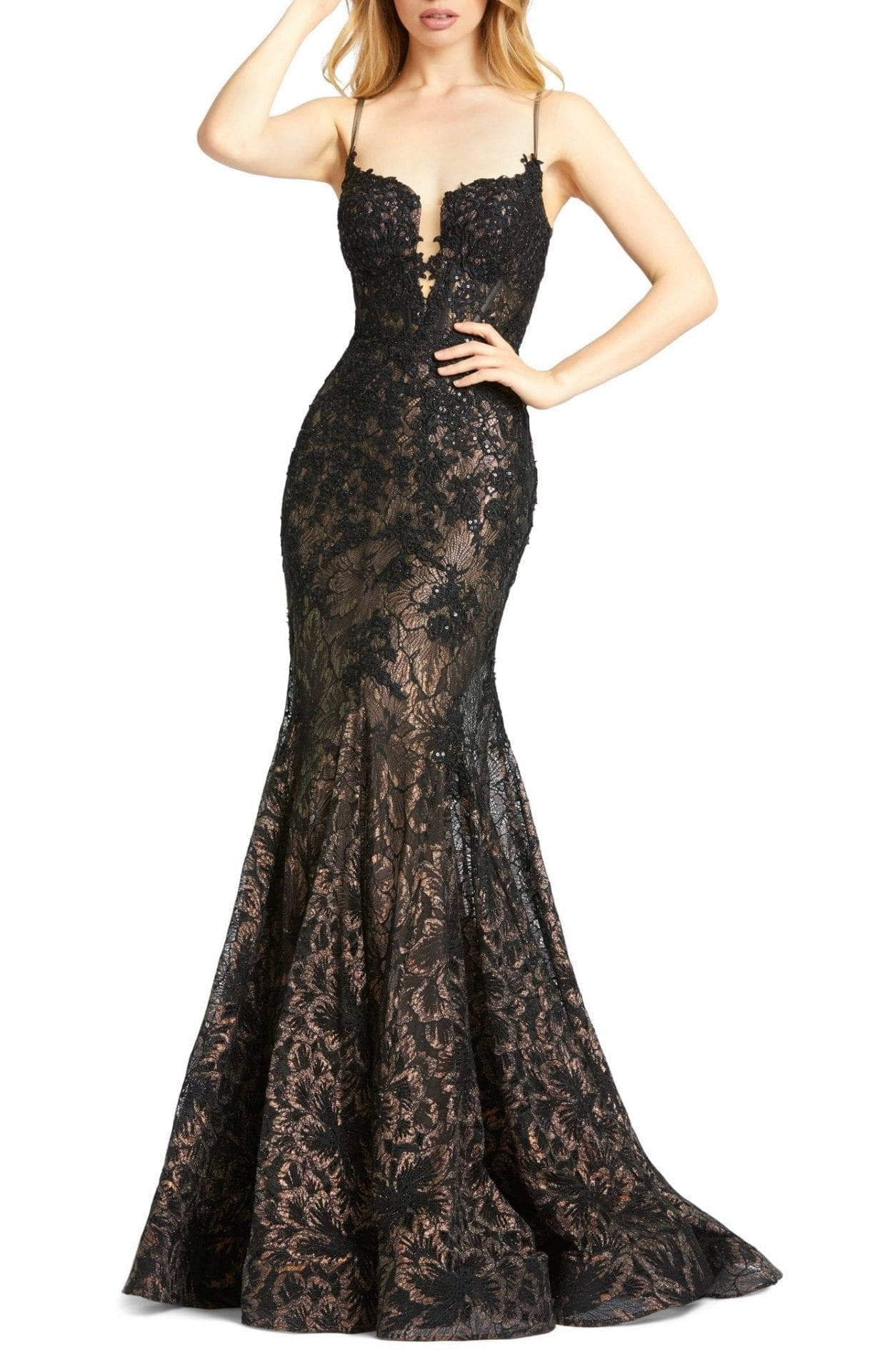 MAC DUGGAL Sequin Illusion Lace Trumpet Gown