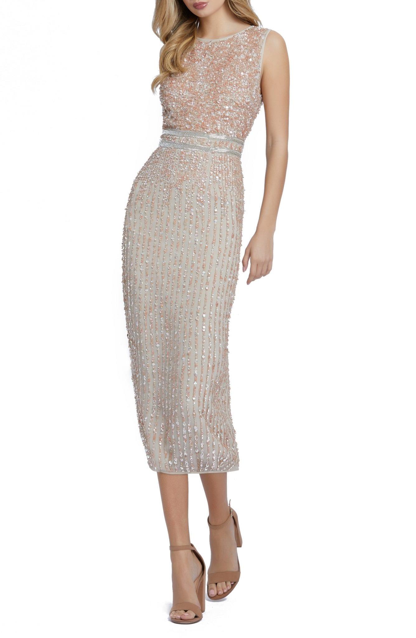 MAC DUGGAL Vertical Sequin Midi Sheath Dress