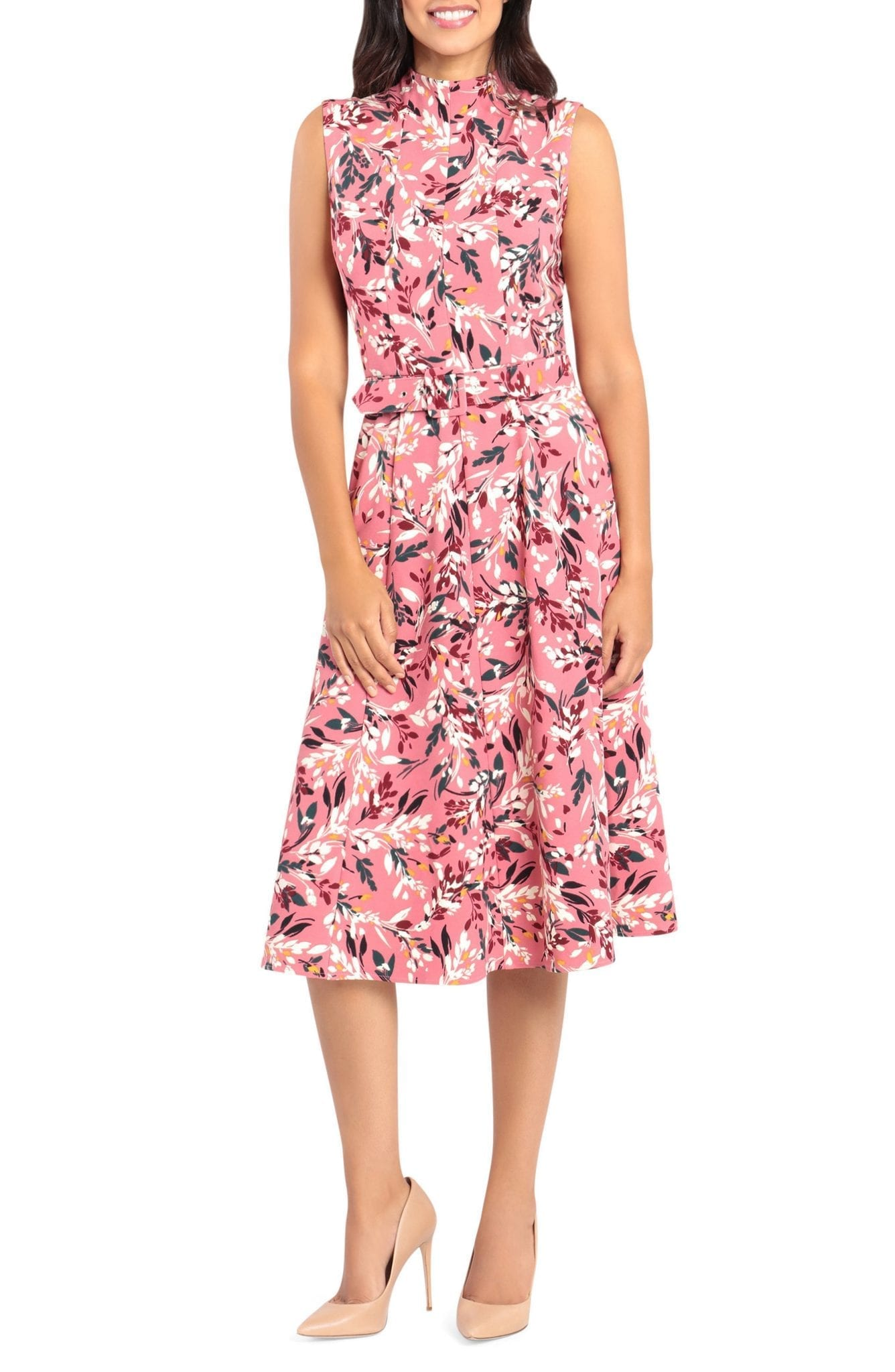 MAGGY LONDON Mock Neck Floral Print Midi Dress
