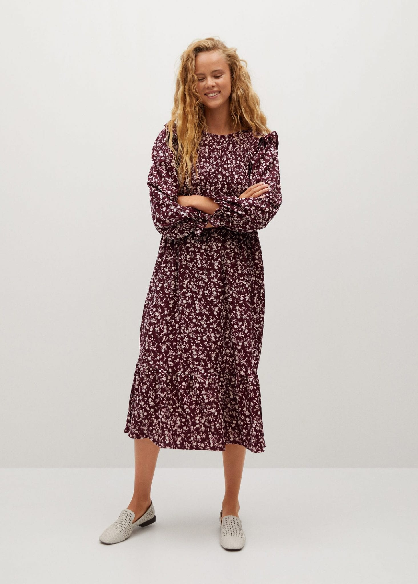 MANGO Ruffle Printed Dress