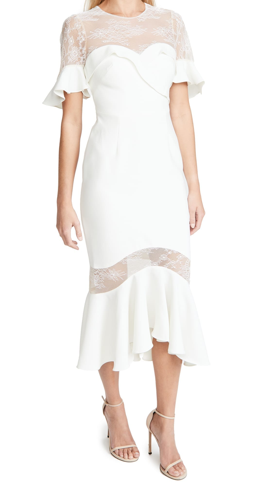 MARCHESA NOTTE Crepe Lace Flutter Sleeve Midi Dress