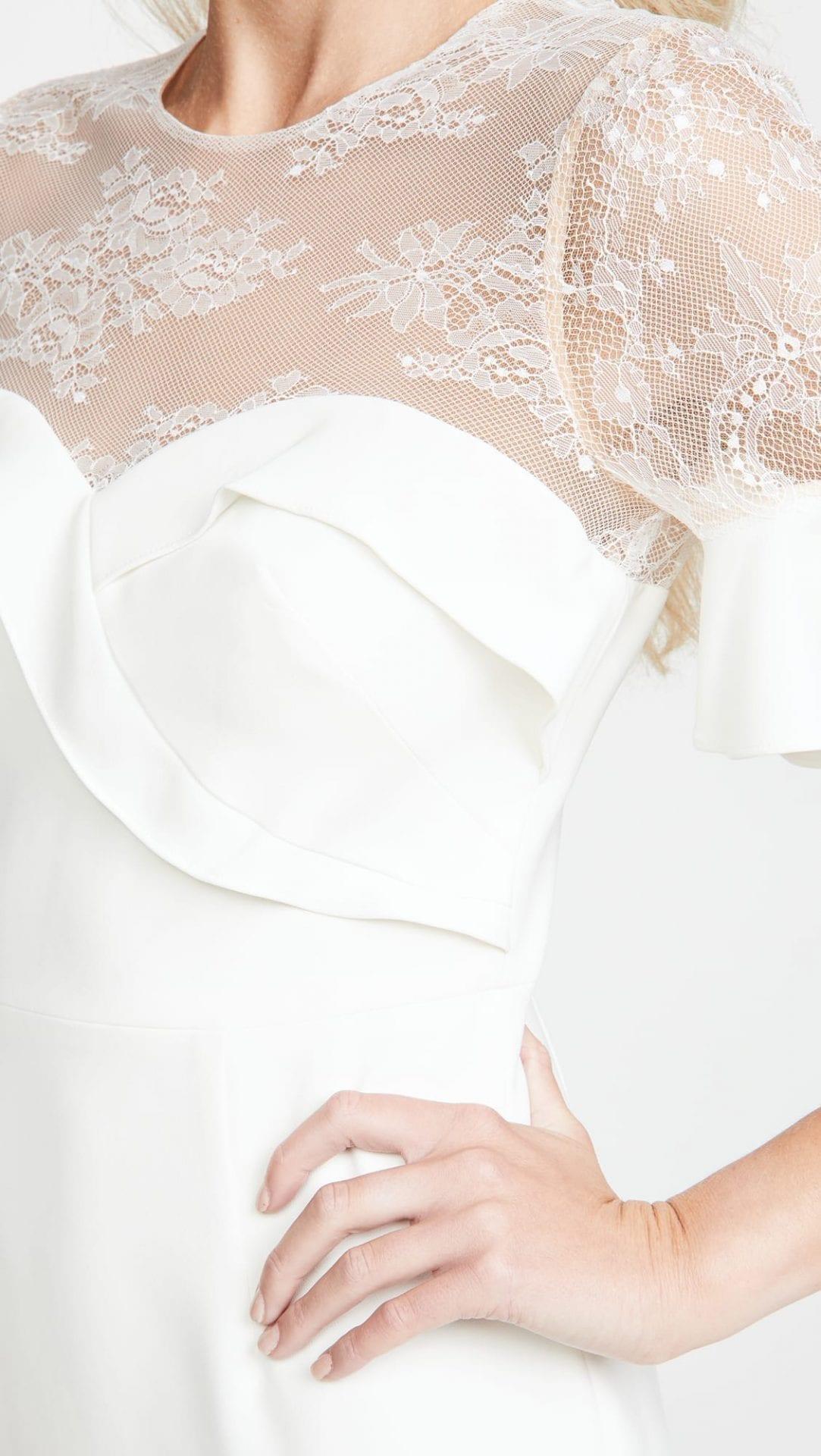 MARCHESA NOTTE Crepe Lace Flutter Sleeve Midi Dress