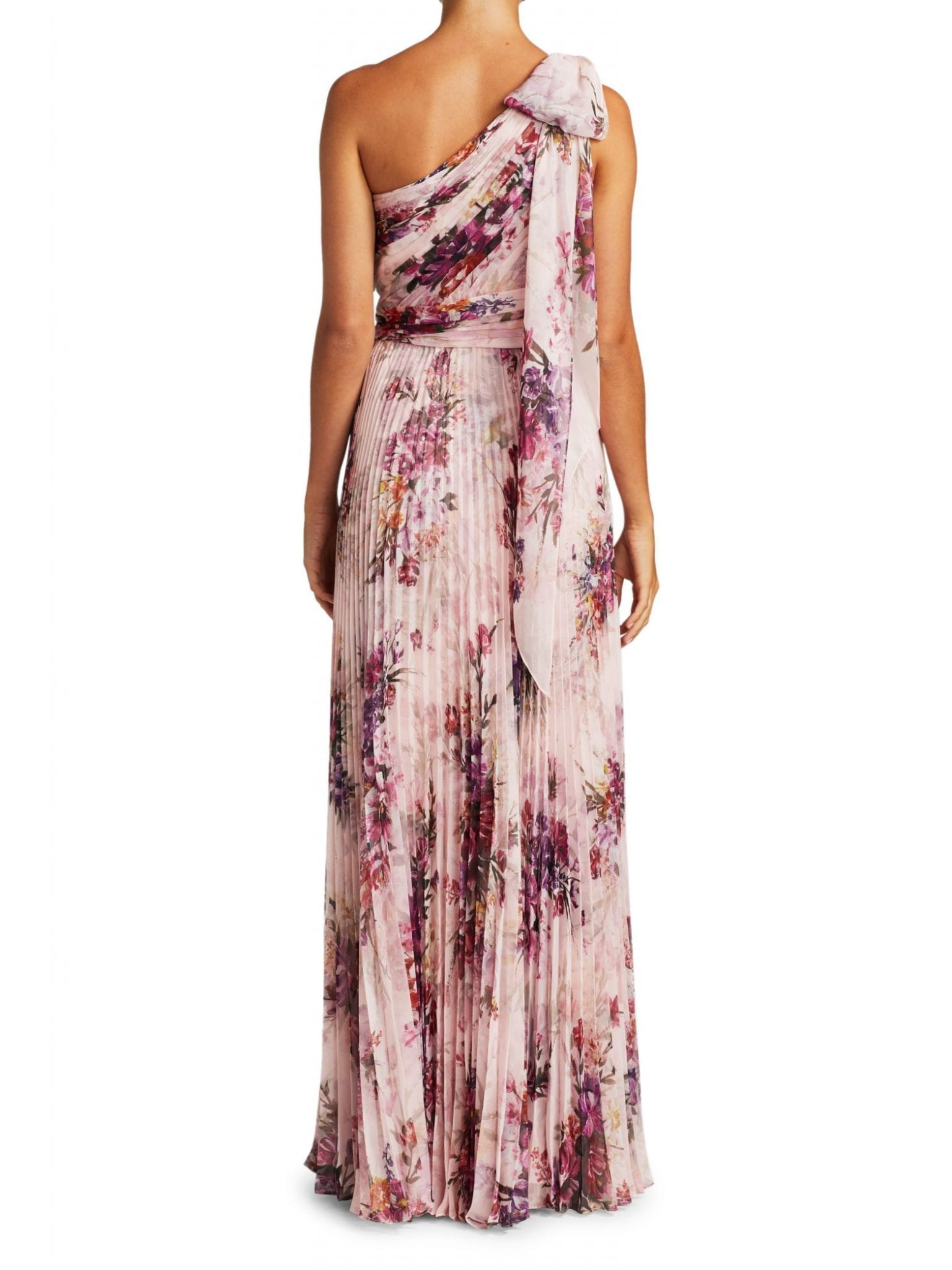 MARCHESA NOTTE Floral Asymetrical Pleated Gown
