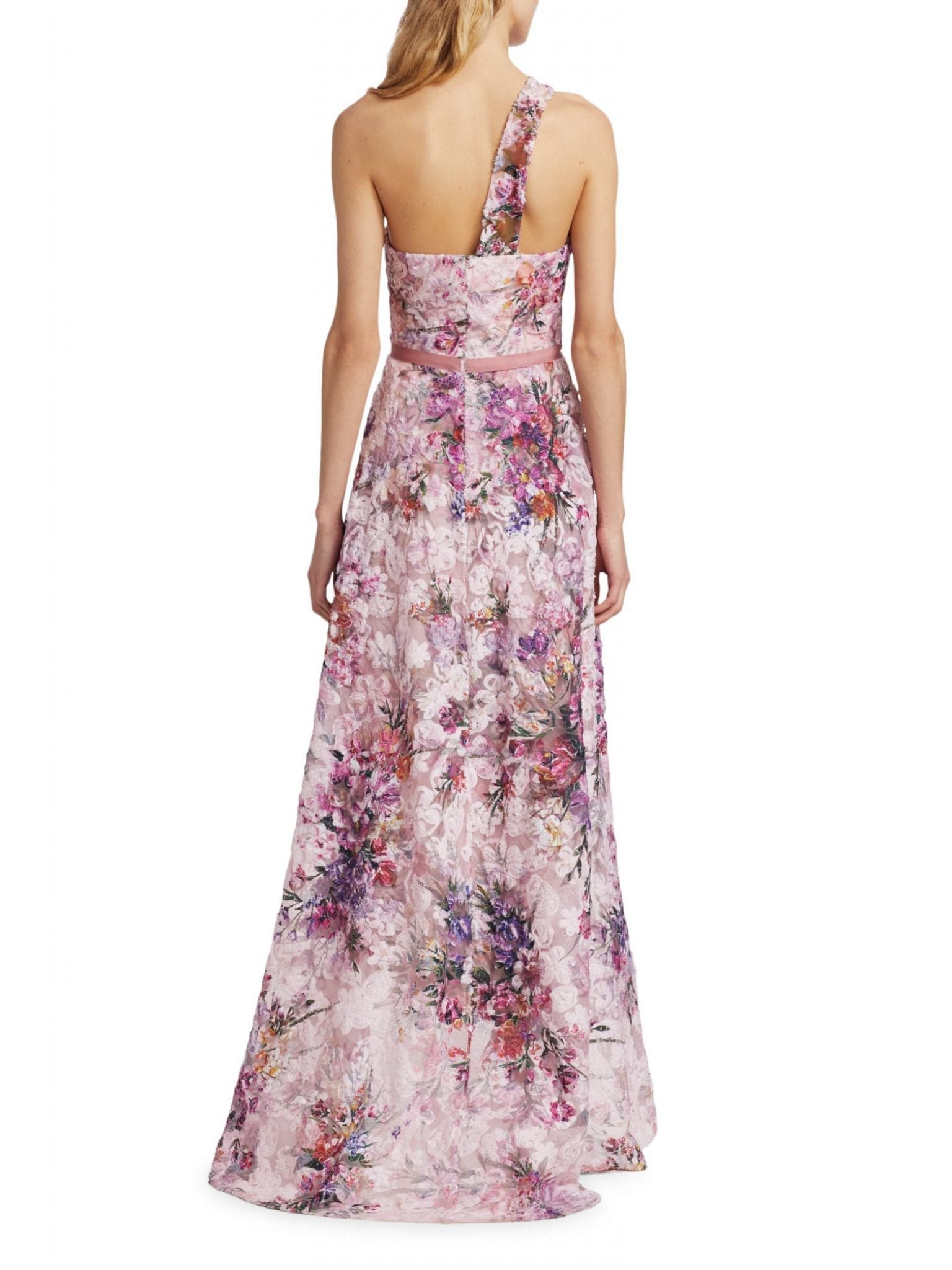 MARCHESA NOTTE Floral Asymmetrical High-low Gown