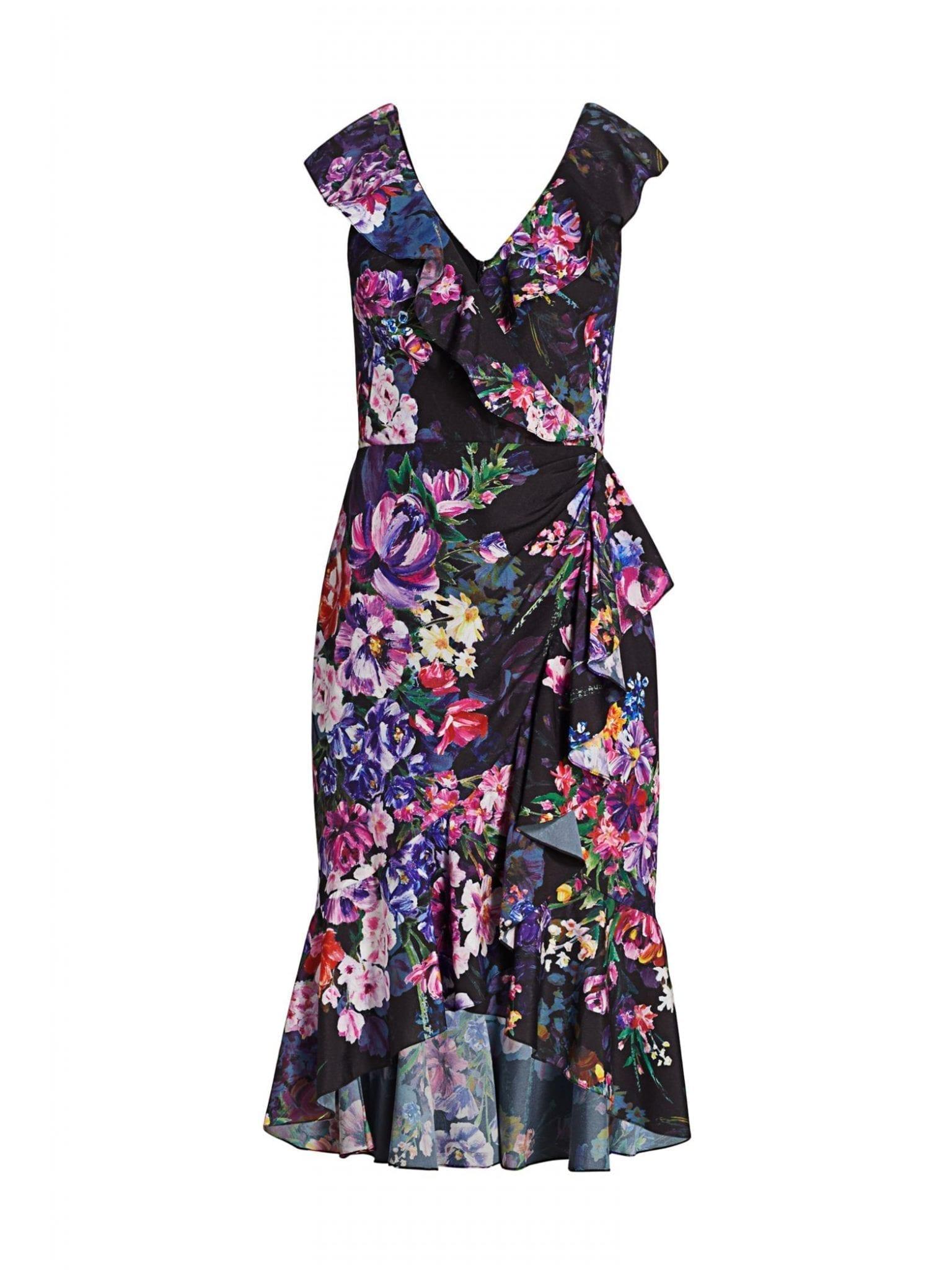 MARCHESA NOTTE Floral Crepe High-low Dress