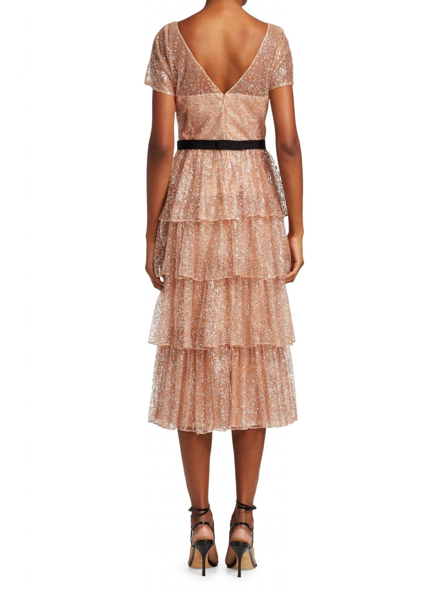 MARCHESA NOTTE Off-The-Shoulder Embroidered Dress
