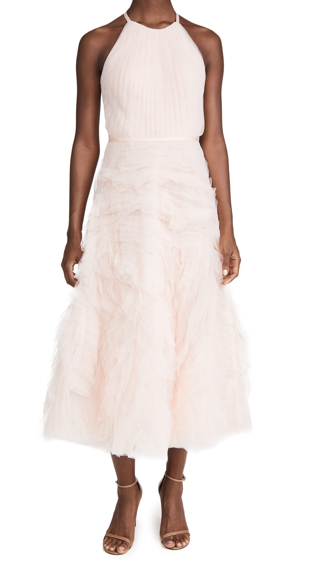 MARCHESA NOTTE Textured Tulle Halter Tea Length Dress
