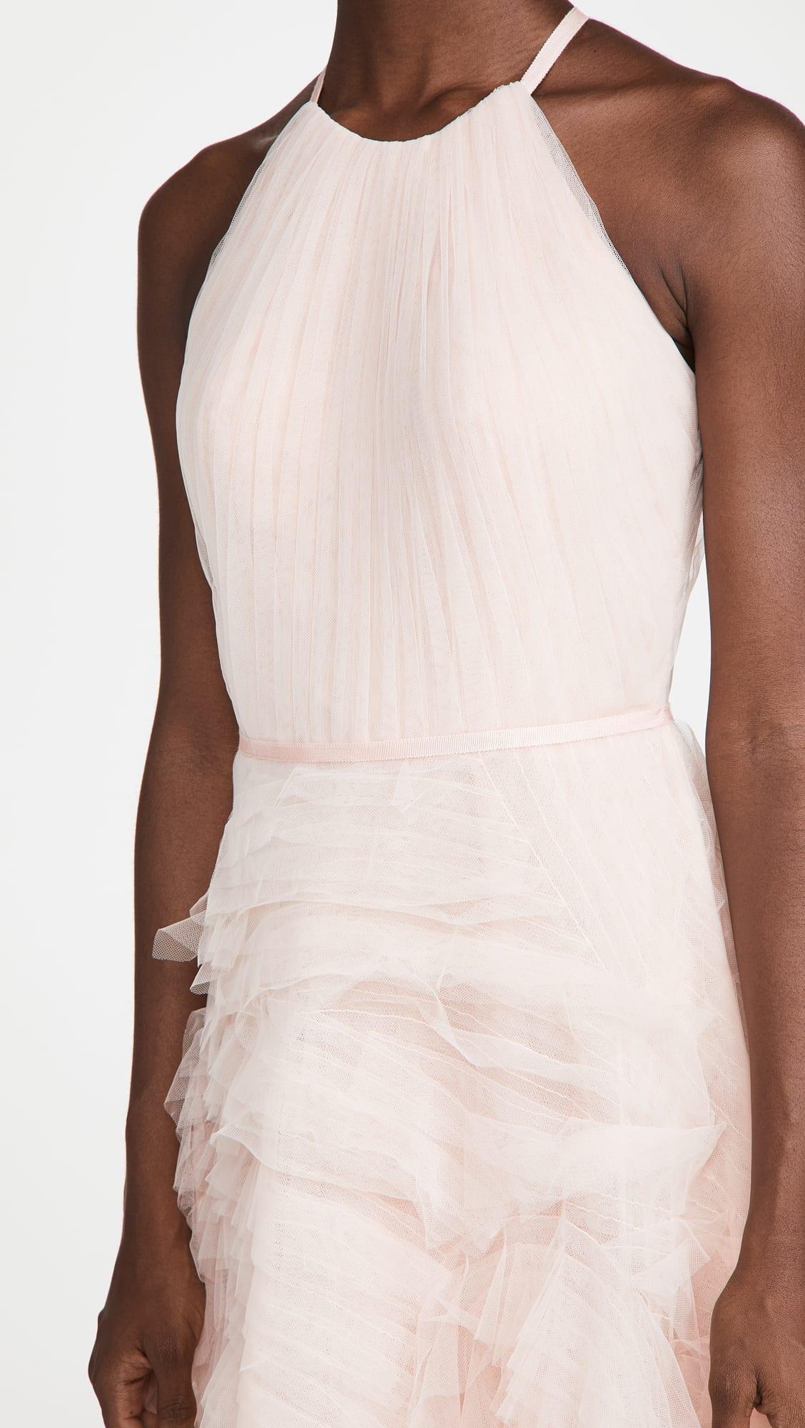MARCHESA NOTTE Textured Tulle Halter Tea Length Dress