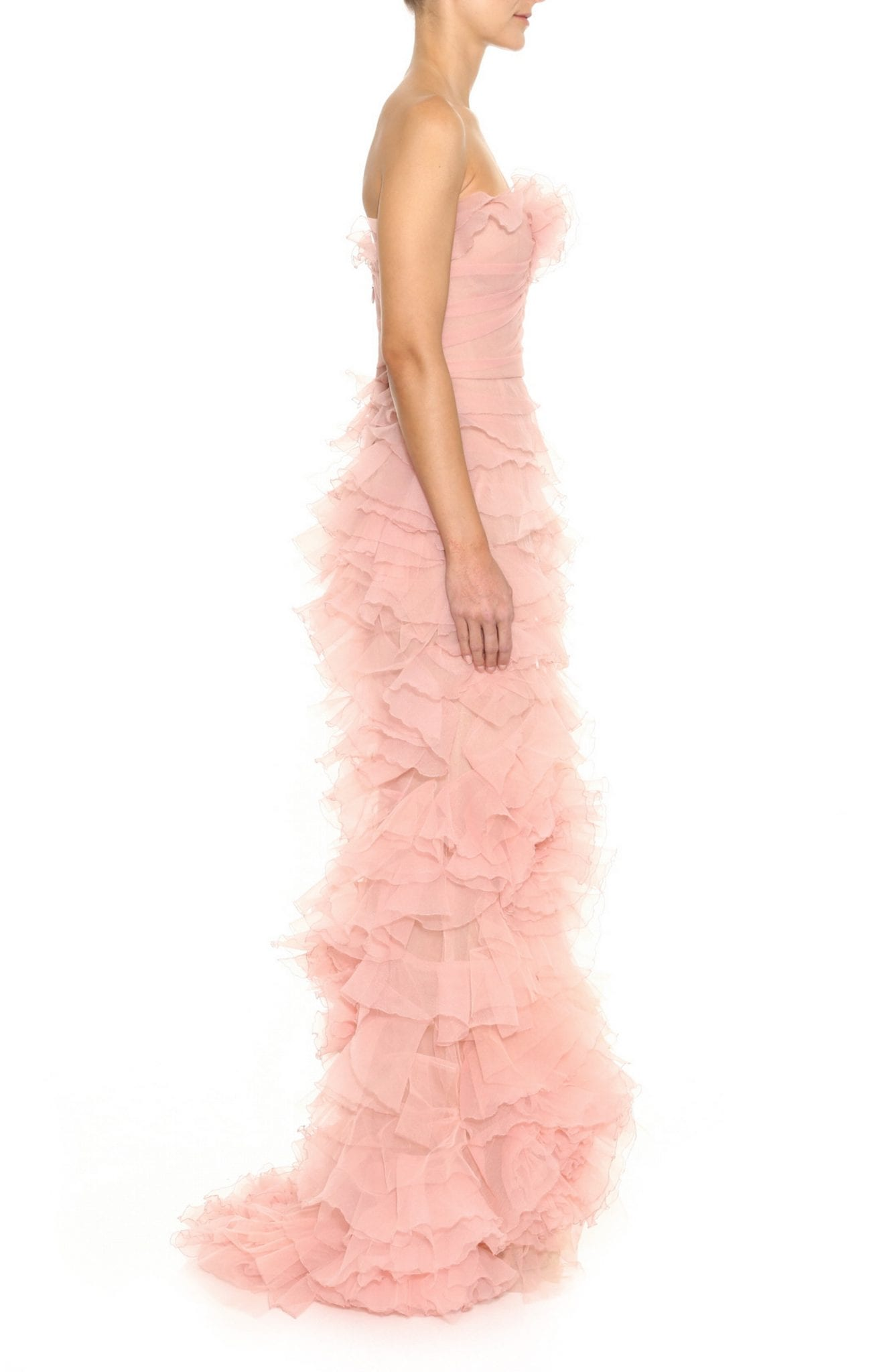 MARCHESA Strapless Floral Ruffle Gown