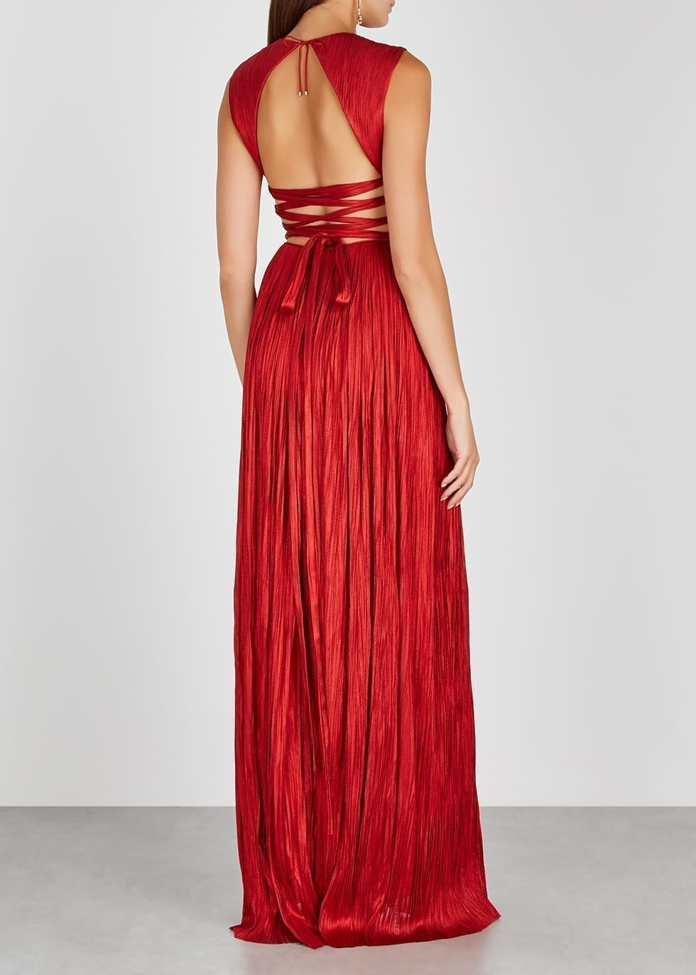 MARIA LUCIA HOHAN Adela Metallic Red Lace-up Silk Gown