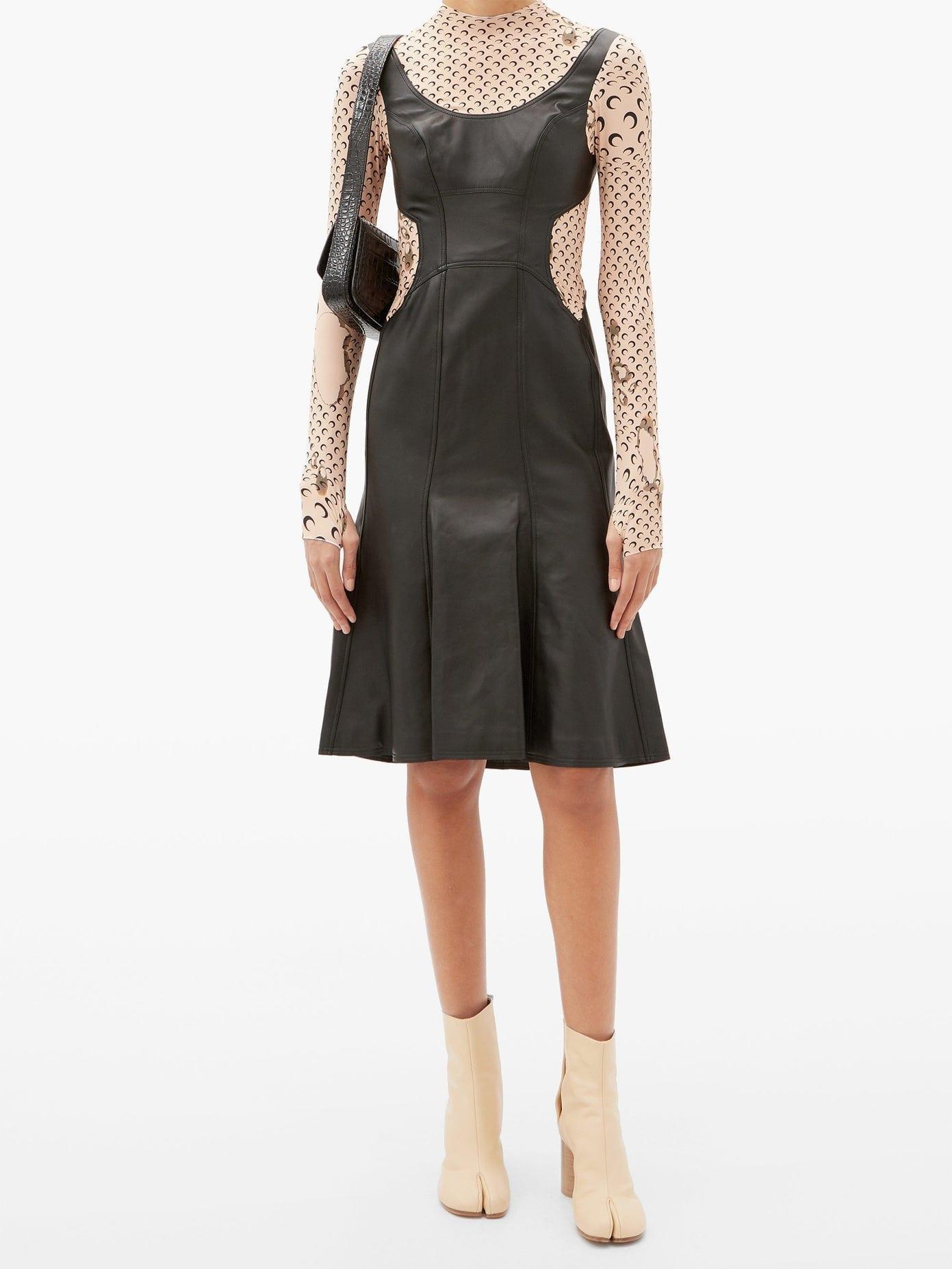 MARINE SERRE Moon-print Upcycled-leather Dress