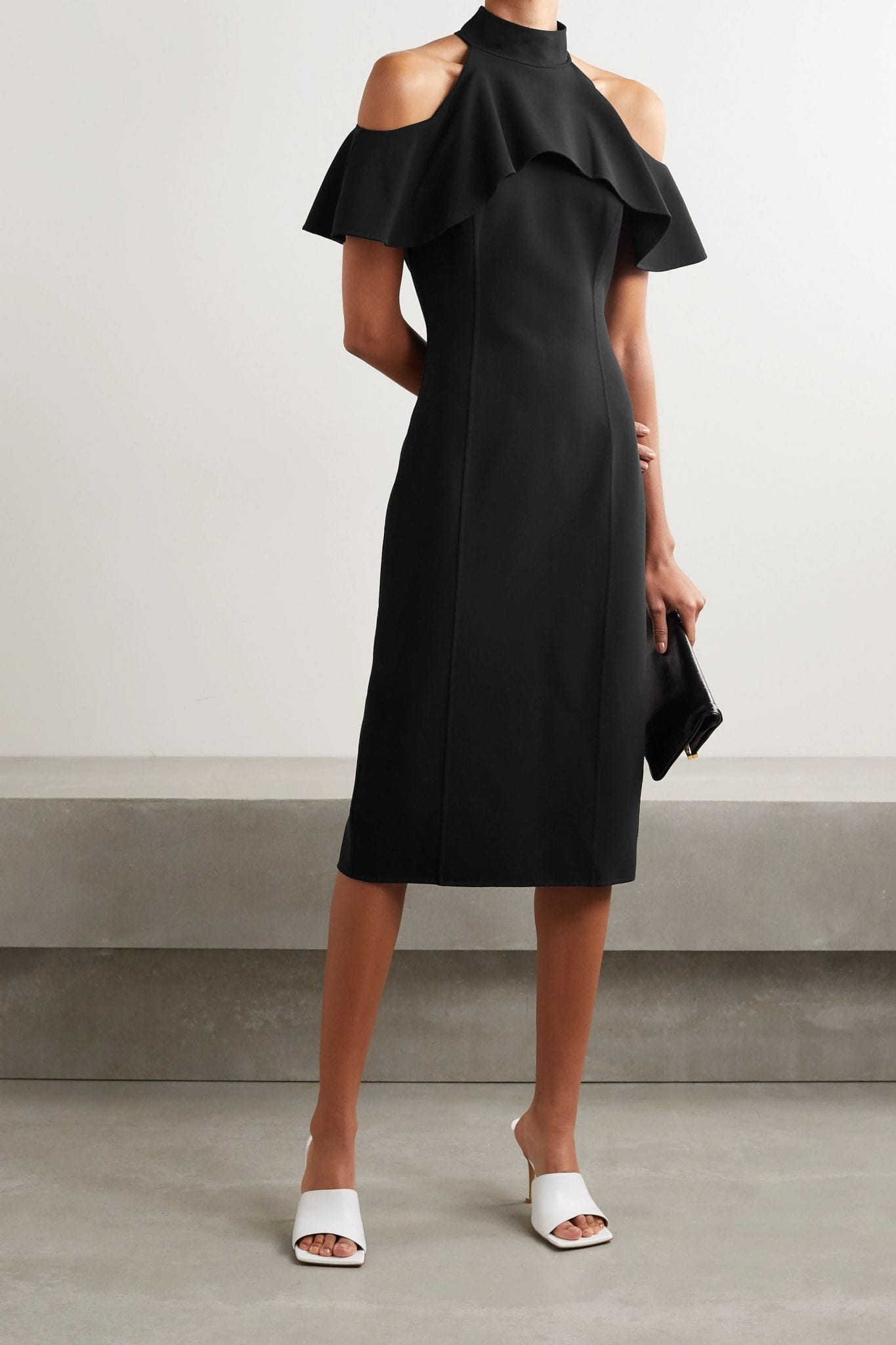 MICHAEL KORS COLLECTION Cold-shoulder Ruffled Stretch-wool Midi Dress