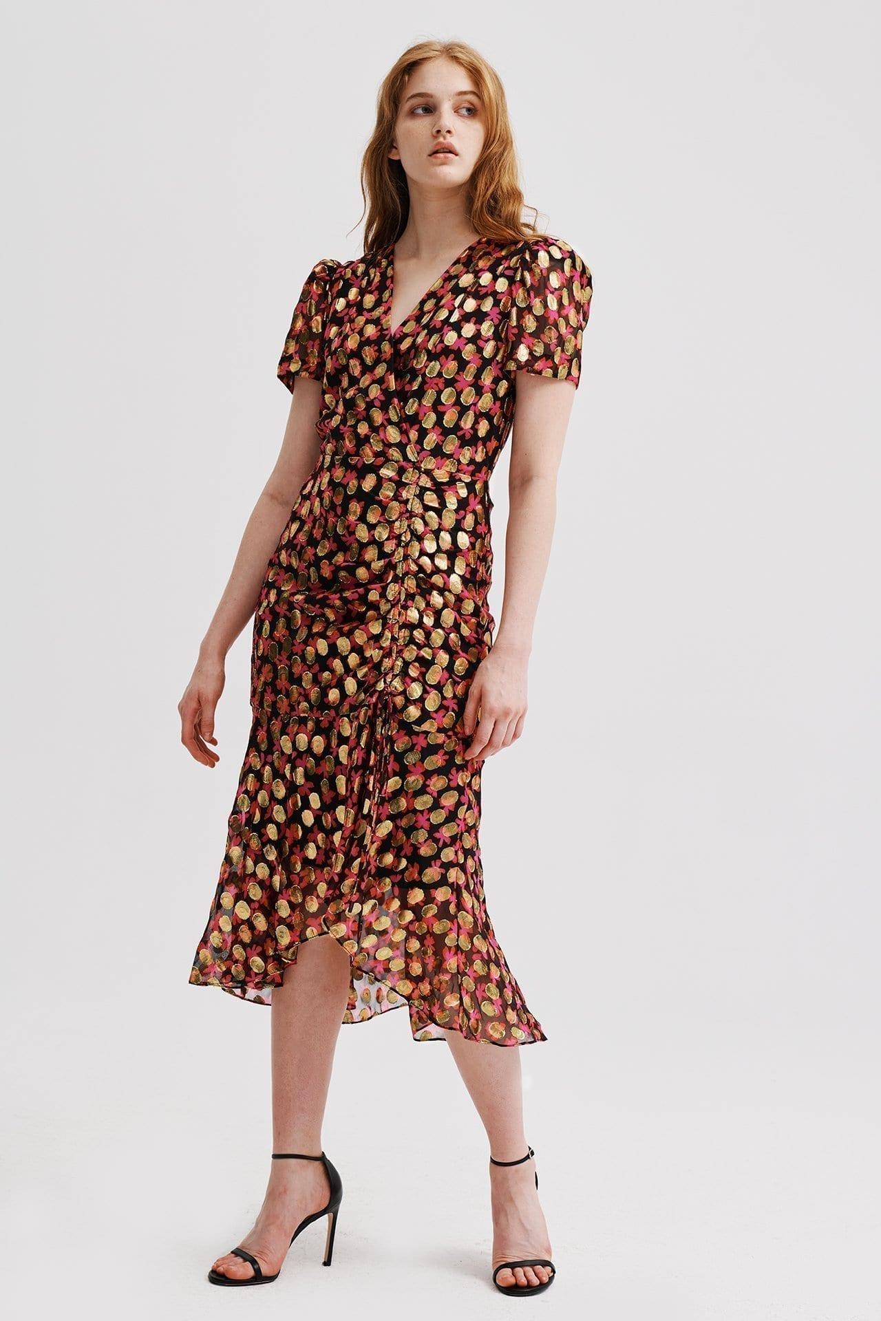 MILLY Gynn Floral Lurex Clipping Dress