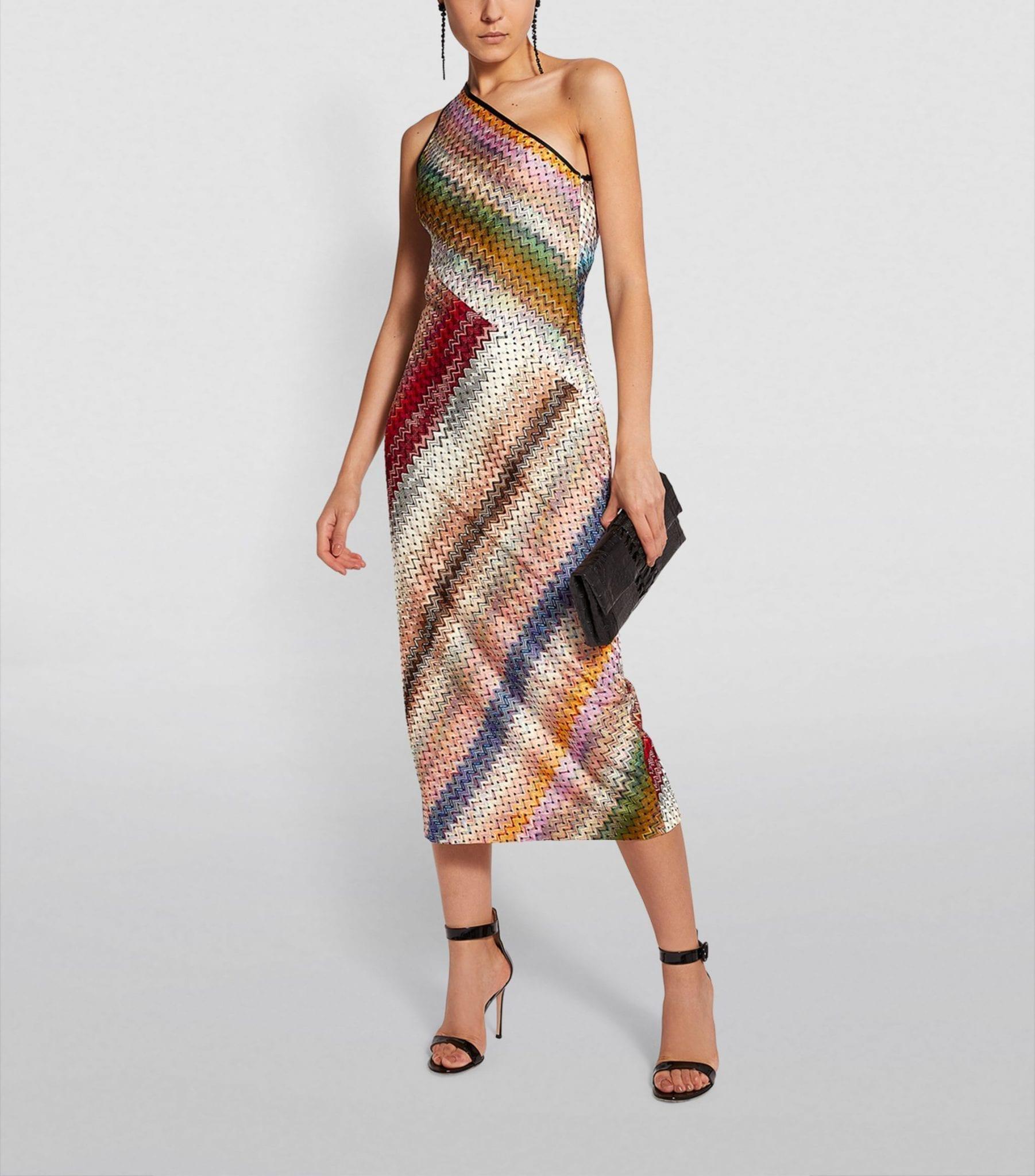 MISSONI One-Shoulder Striped Dress