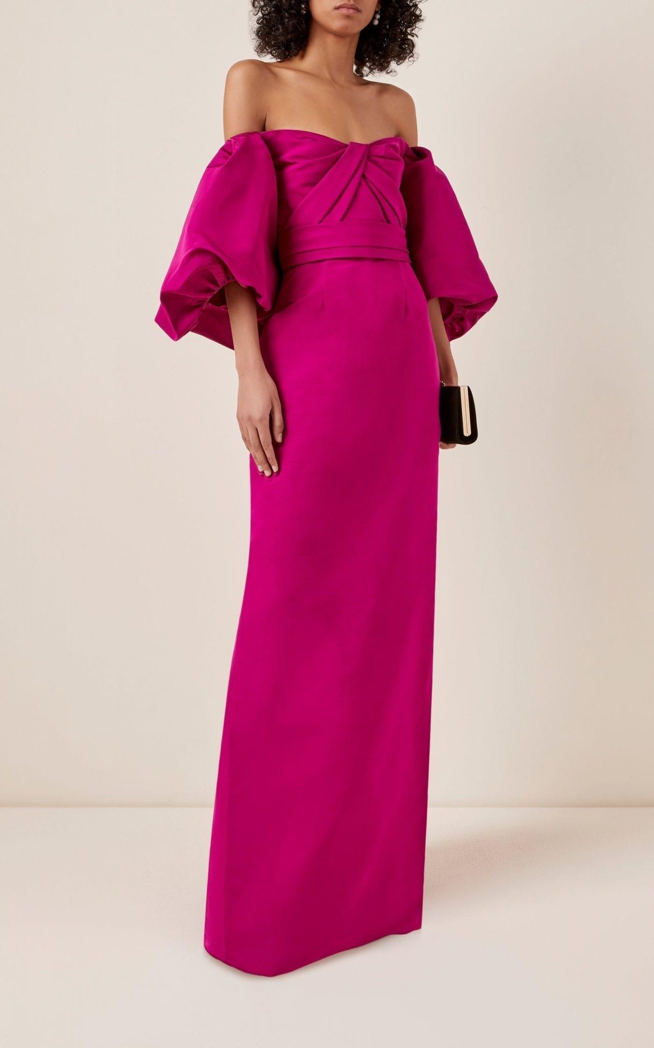 MONIQUE LHUILLIER Off-The-Shoulder Silk Taffeta Maxi Dress