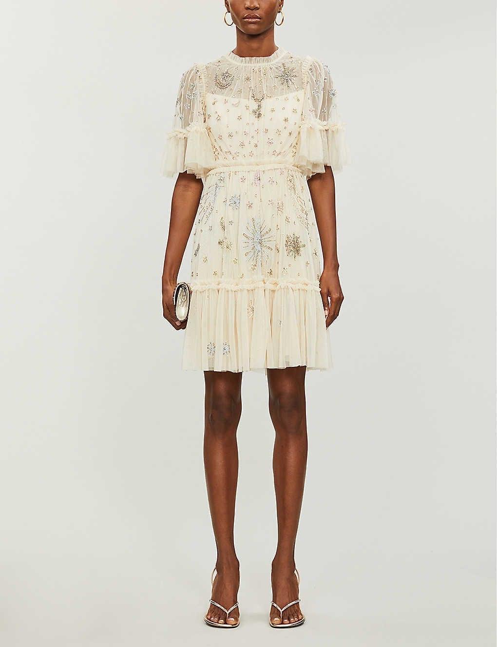 NEEDLE AND THREAD X Jasmine Hemsley Ether Crystal-embellished Recycled-tulle Mini Dress
