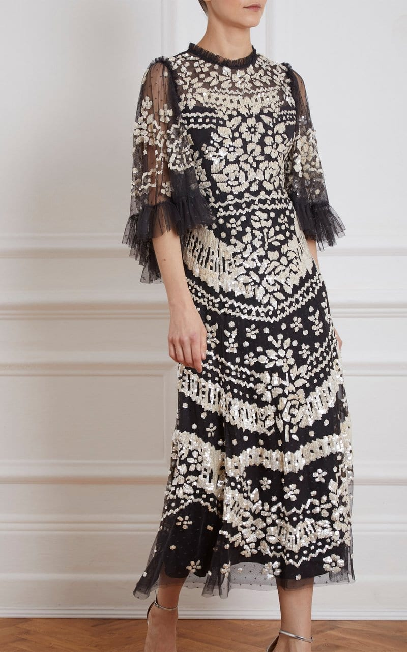 NEEDLE & THREAD Anaïs Embroidered Tulle Dress
