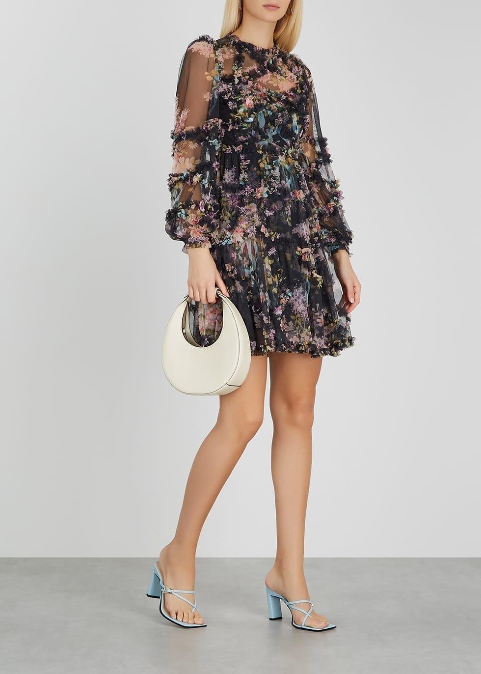 NEEDLE & THREAD Floral Diamond Ruffle-trimmed Tulle Mini Dress